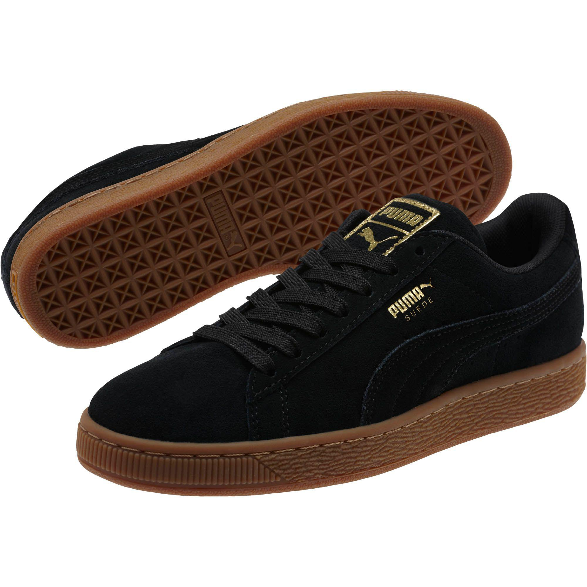 san francisco 589d6 2fc29 Black Suede Classic Gold Women's Sneakers