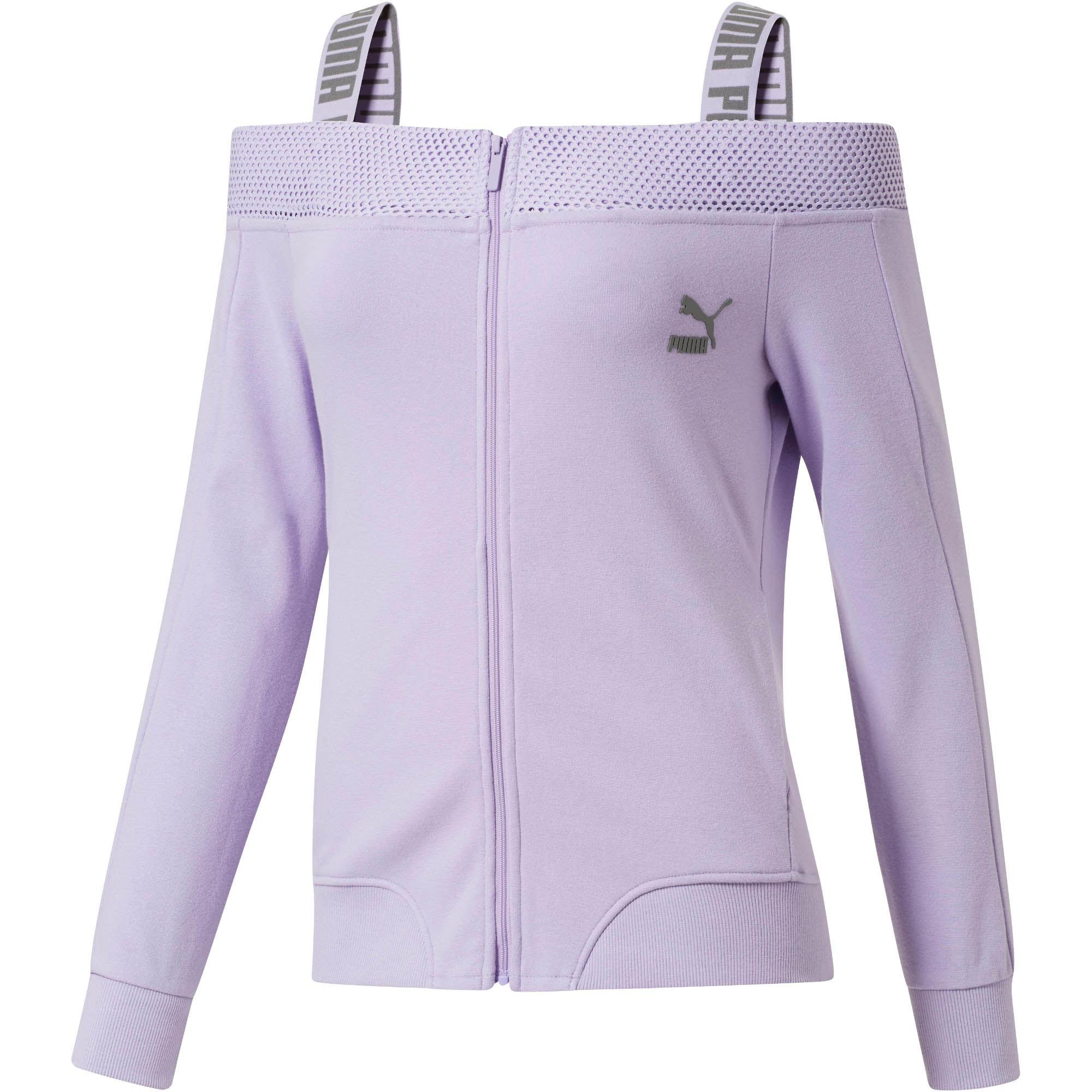 7754157fa338 Lyst - PUMA Off The Shoulder T7 Jacket in Purple