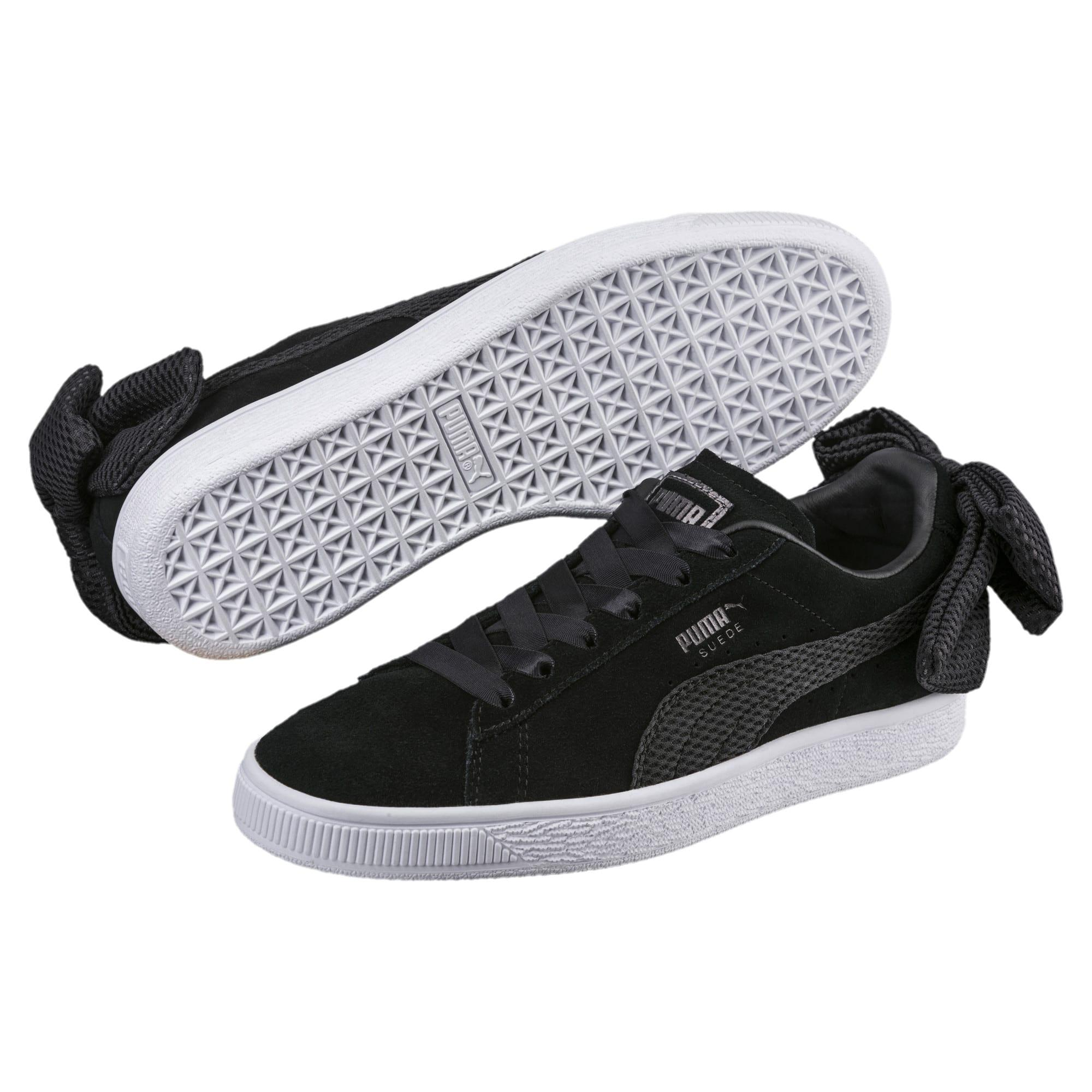 Black Suede Bow Uprising Women's Sneakers