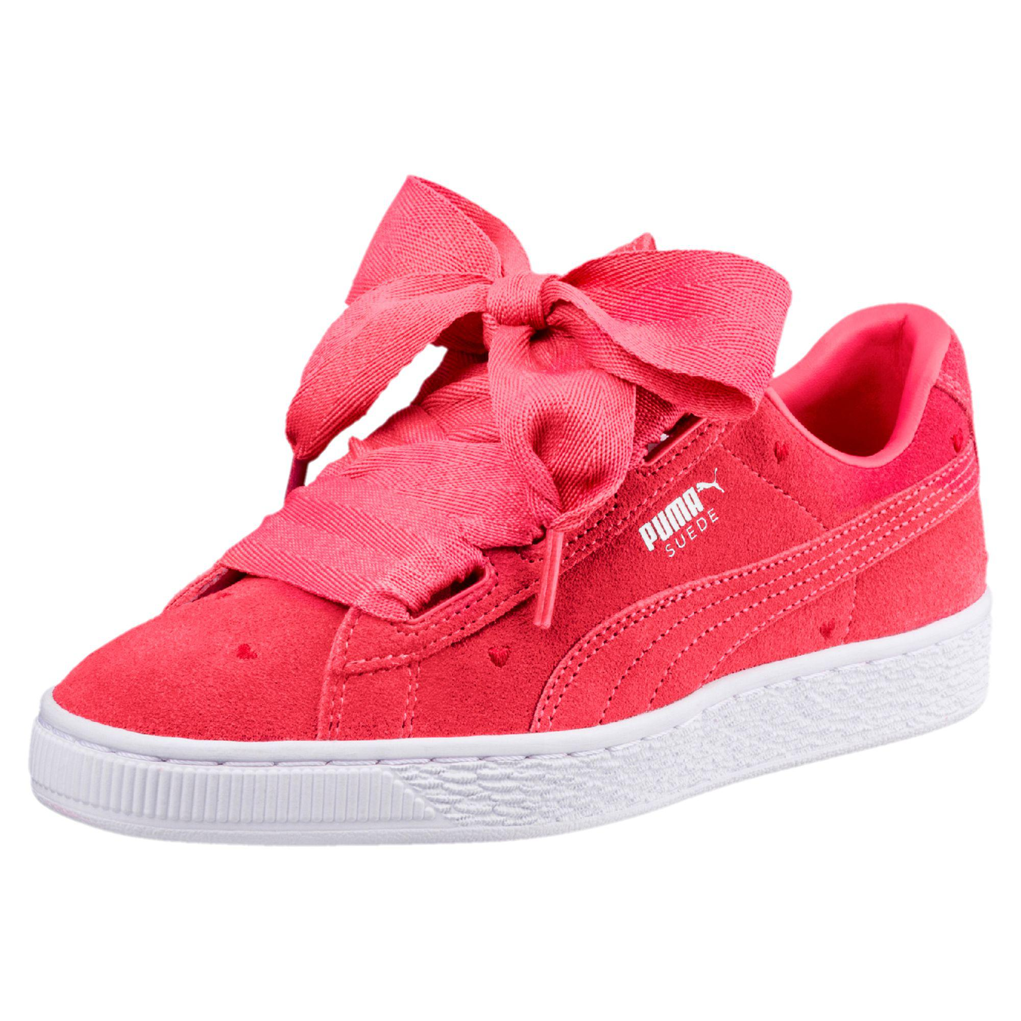 premium selection 132ff 14597 Women's Pink Suede Heart Valentine Jr Sneakers