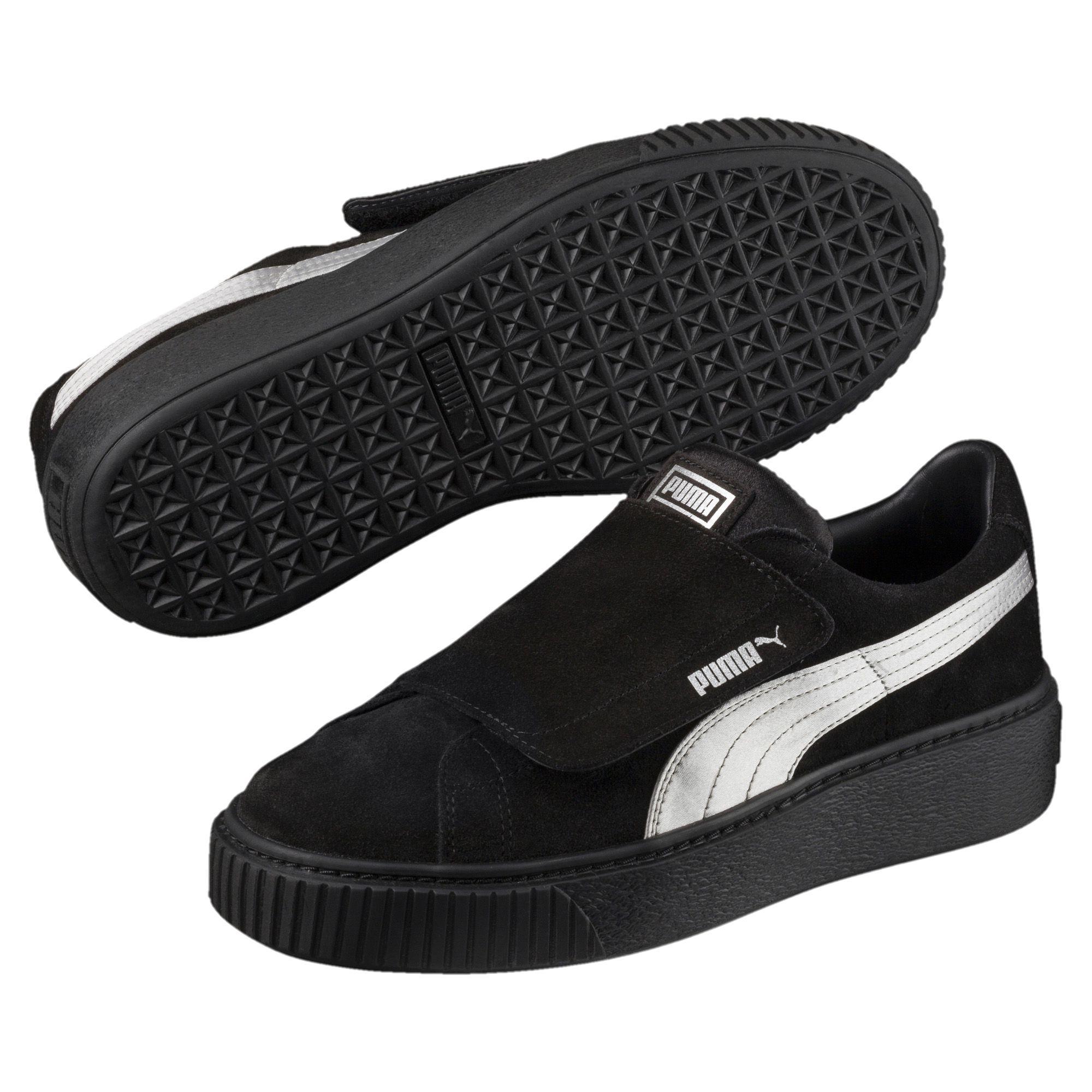f0d2bc5d7a99 Lyst - PUMA Platform Strap Satin Ep Women s Sneakers in Black