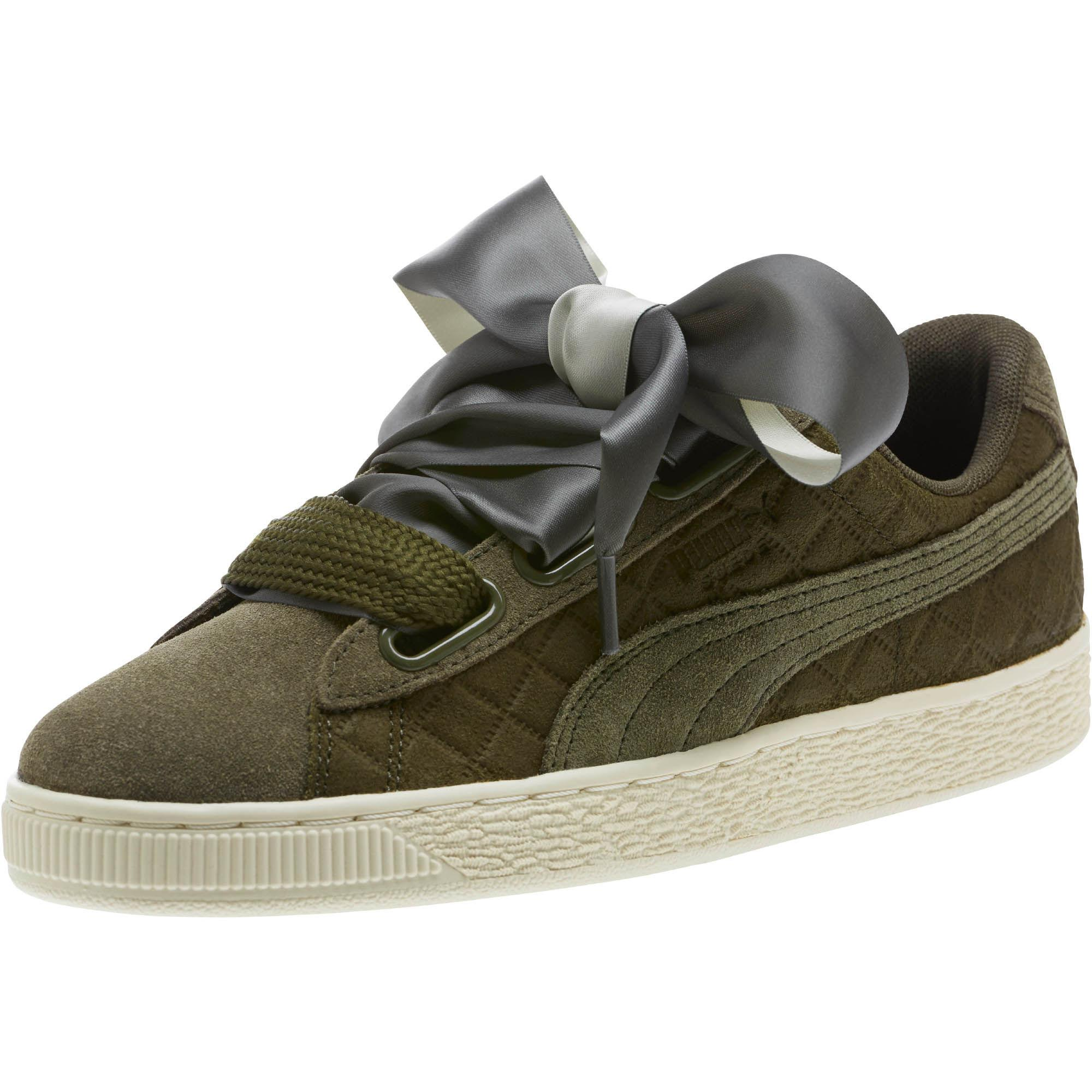the latest 9dd5f ae03b PUMA Green Suede Heart Quilt Women's Sneakers