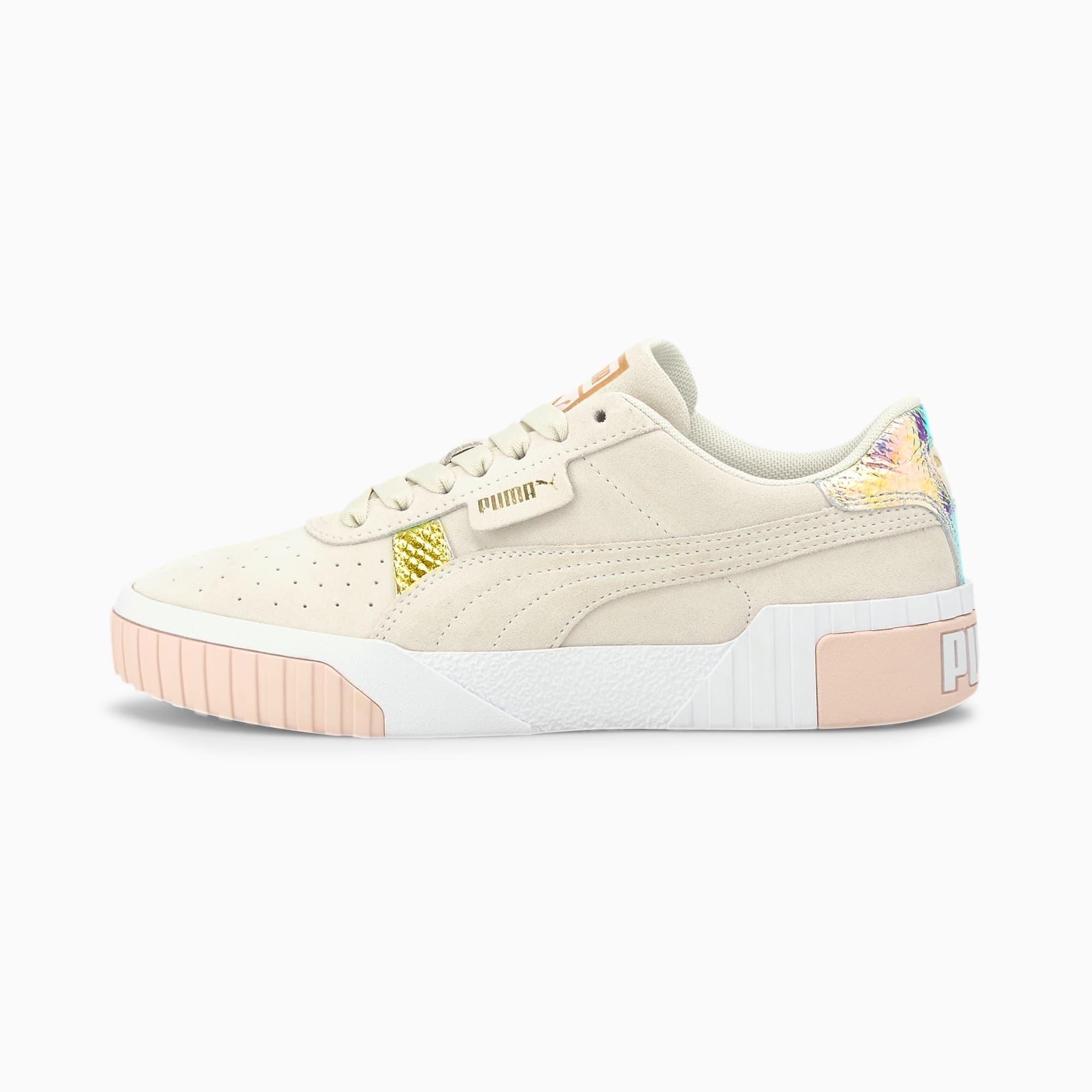 PUMA Cali Suede Snake Sneakers in White - Lyst