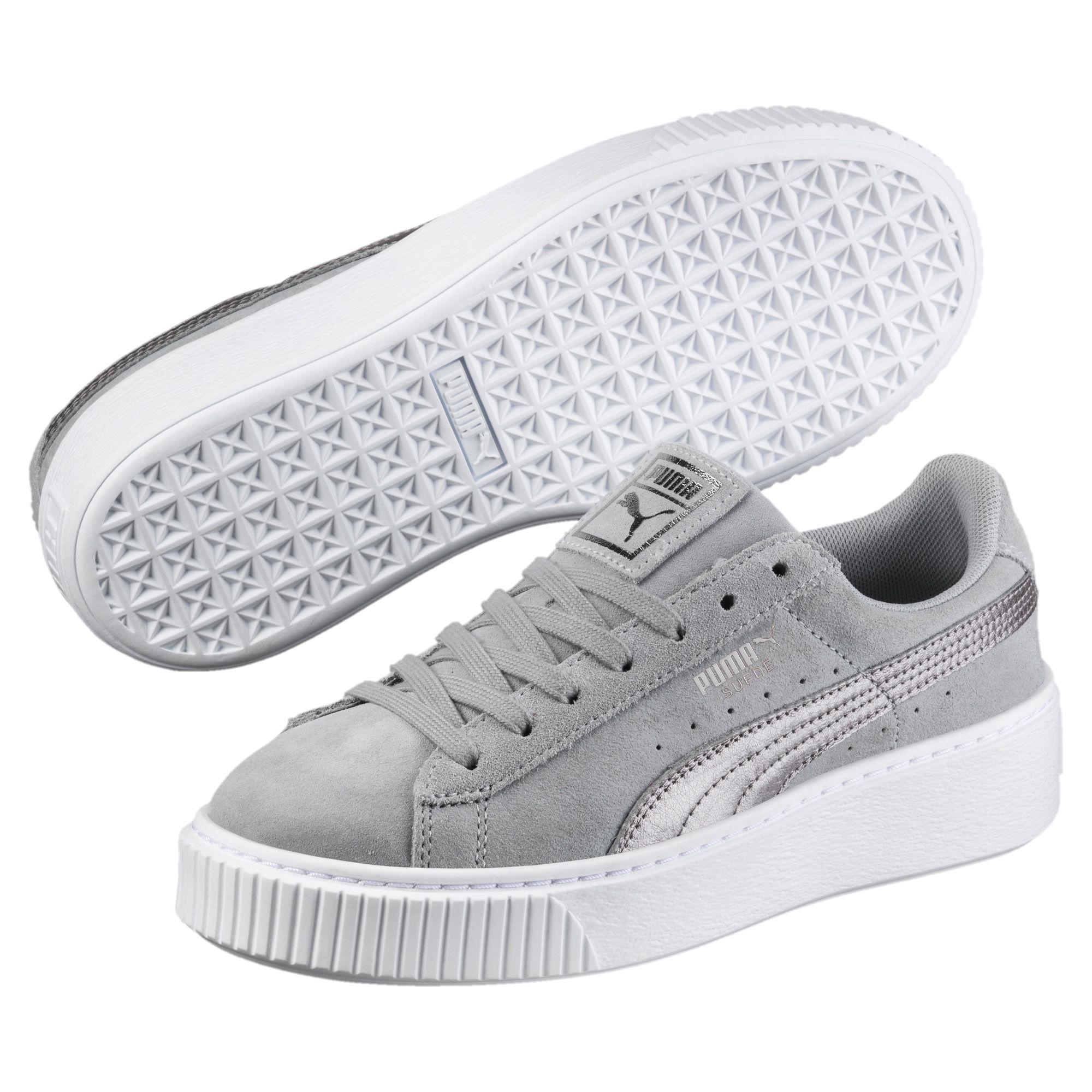 pretty nice 94fa7 36d53 Gray Suede Platform Metallic Safari Women's Sneakers