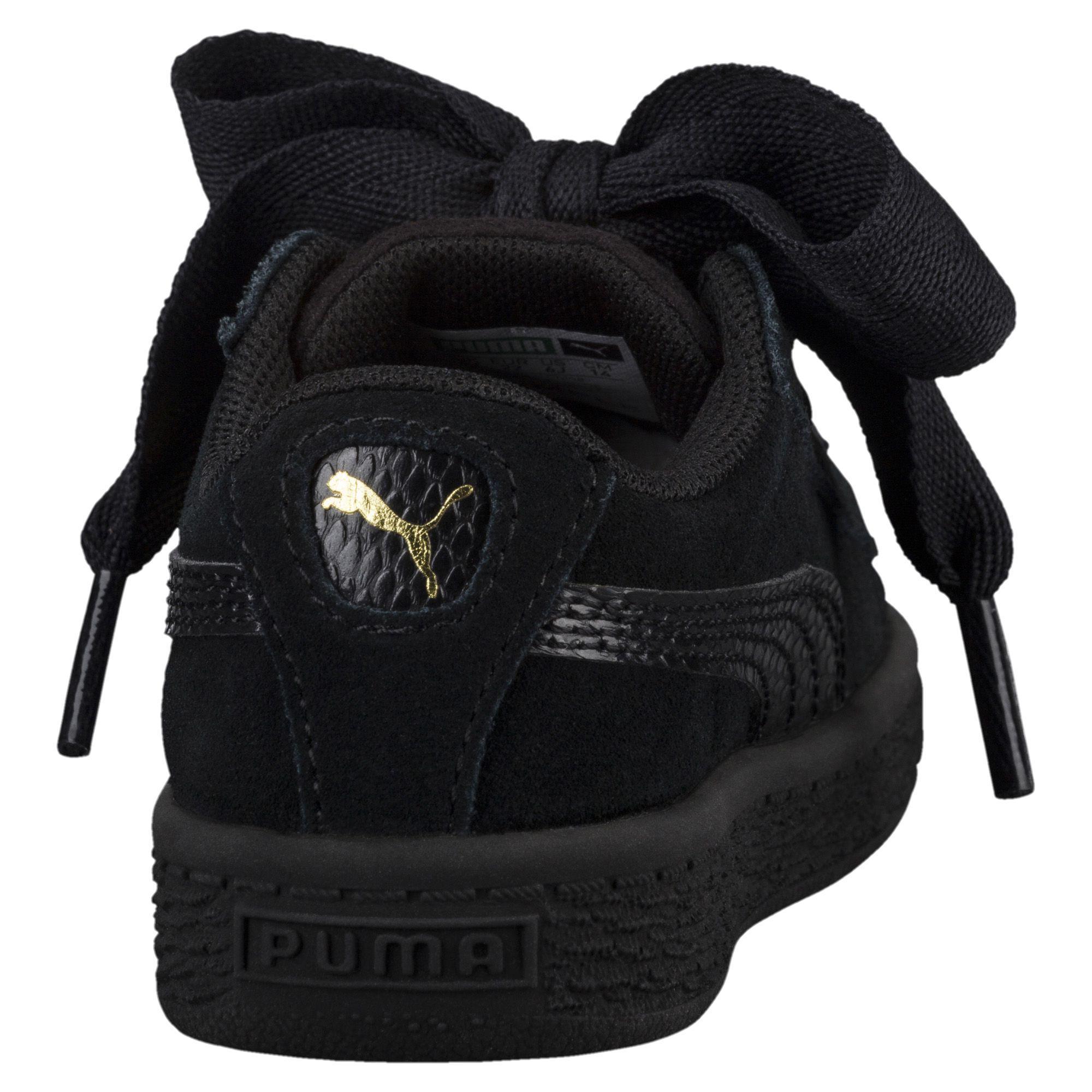 buy popular 072a5 2ccf9 Women's Black Suede Heart Snake Girls' Sneakers