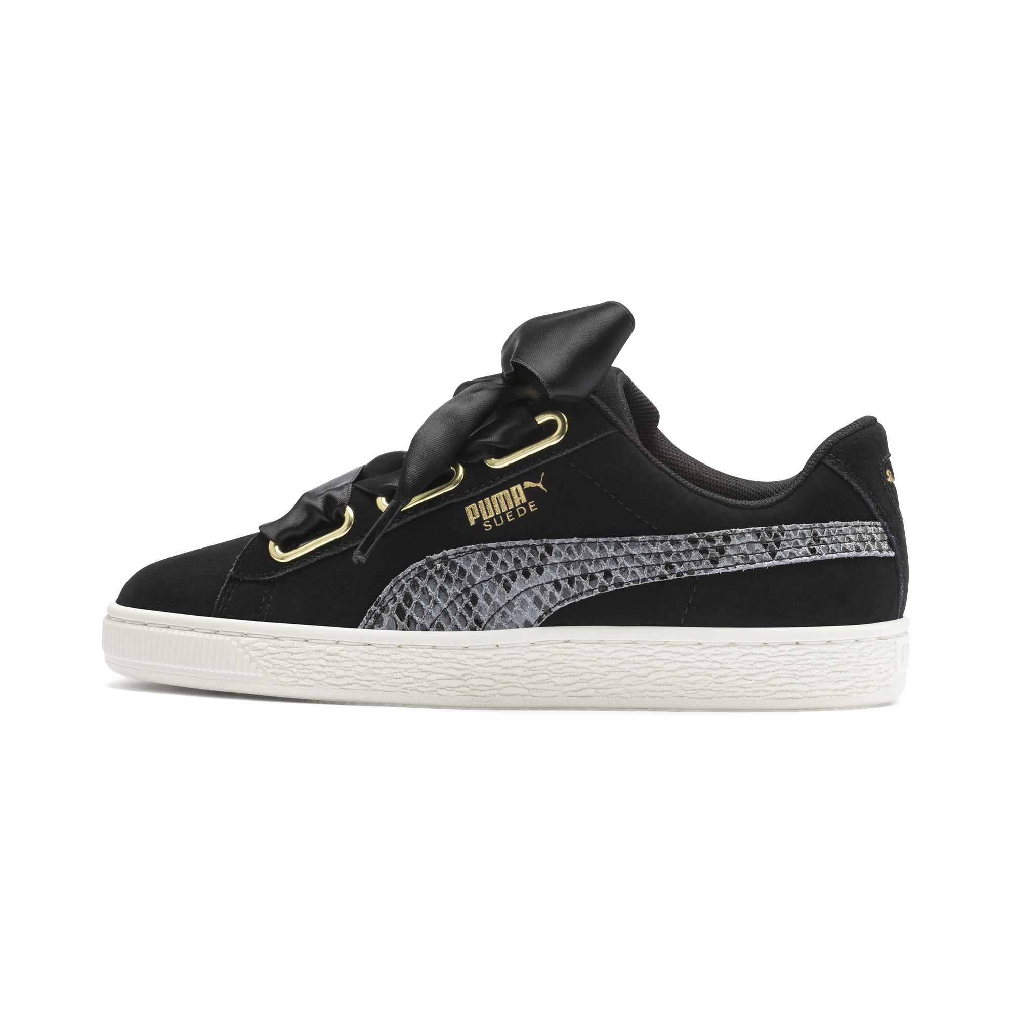 bff6965255 Black Suede Heart Snake Lux Women's Sneakers