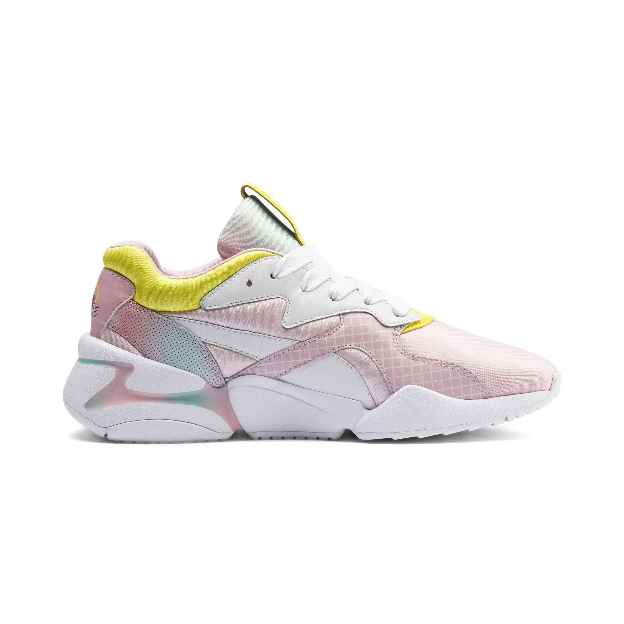 X Nova X Barbie Women's Mixed Media Pastel Lace up Sneakers In White