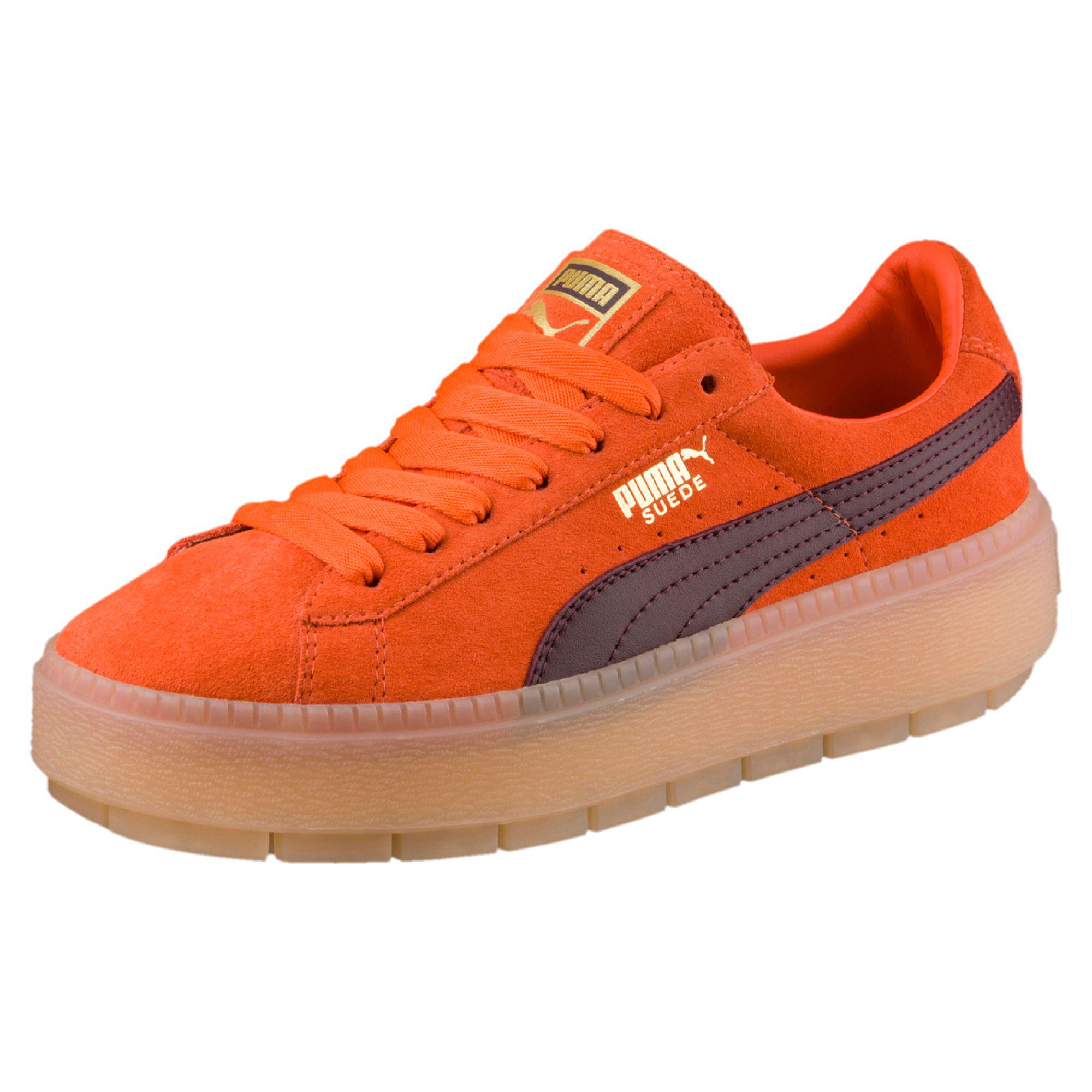 puma suede platform orange