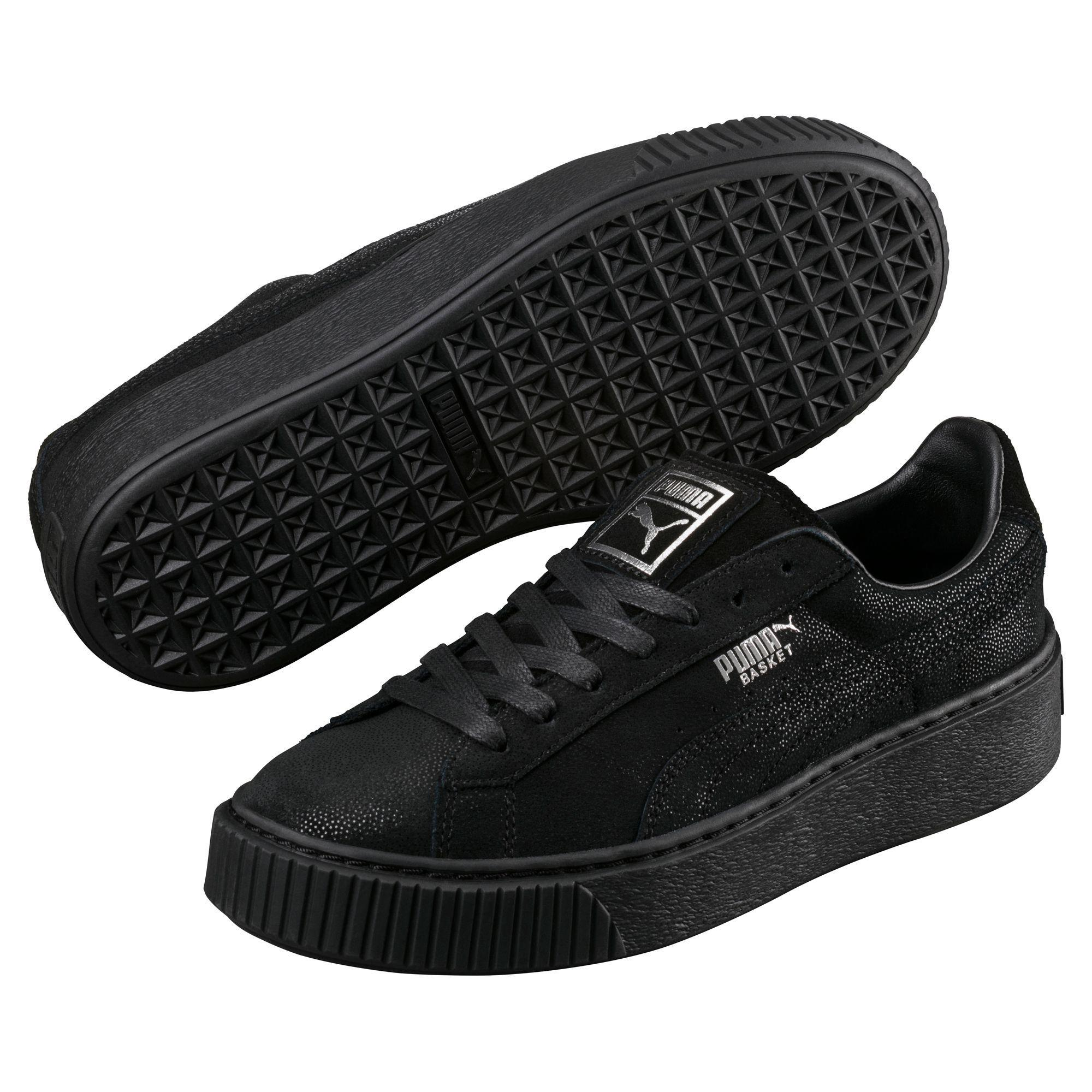 the best attitude 57db2 e72ae PUMA Black Basket Platform Reset Women's Sneakers