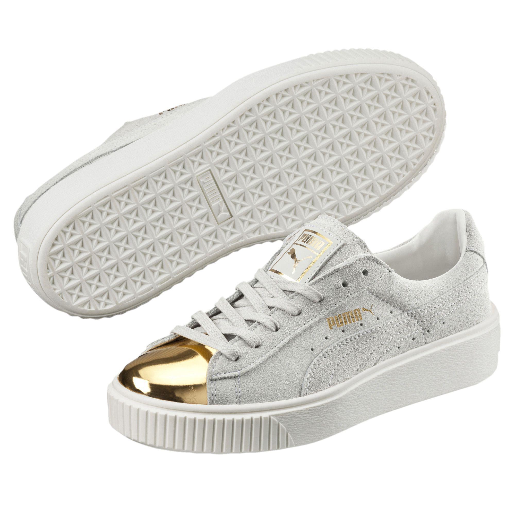 e5d8cbc3c8 PUMA White Suede Platform Gold Women's Sneakers