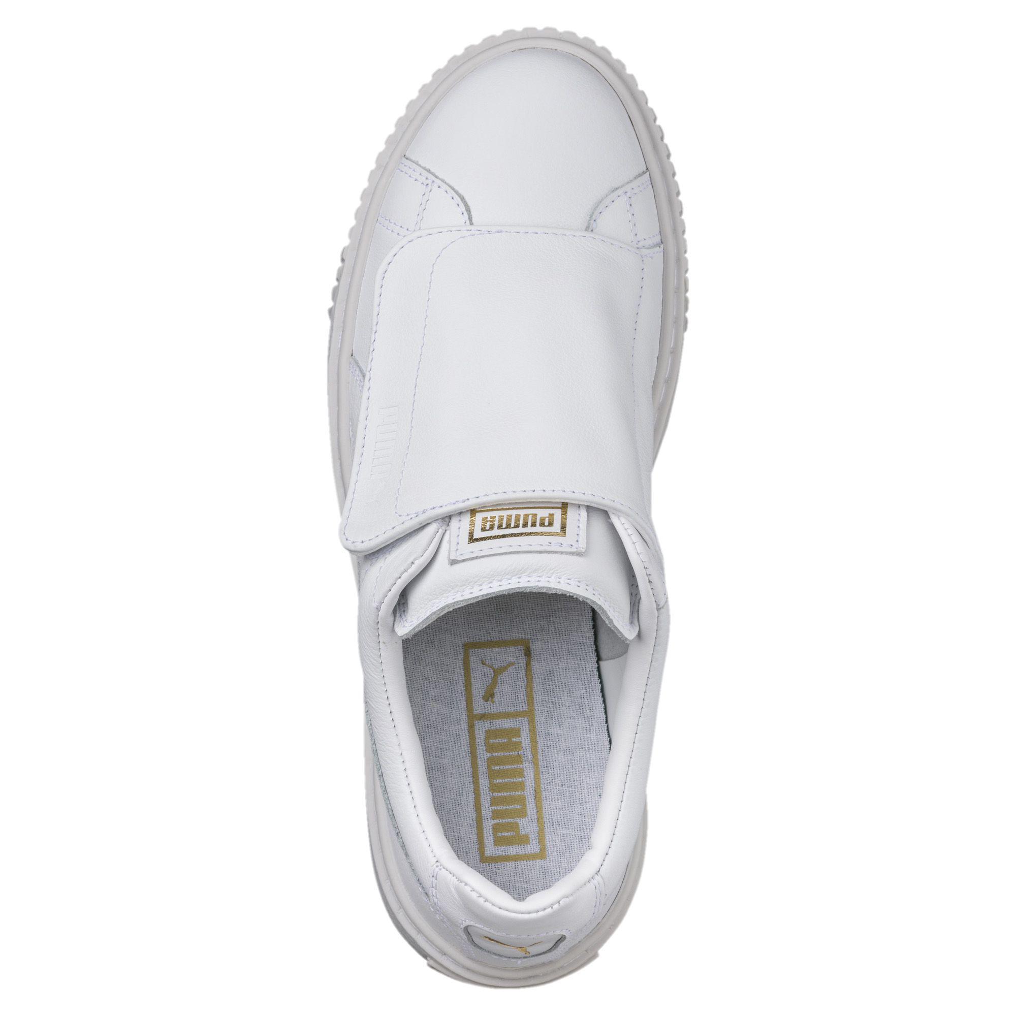 info for 5ba38 eb5de White Basket Platform Big Strap Women's Sneakers