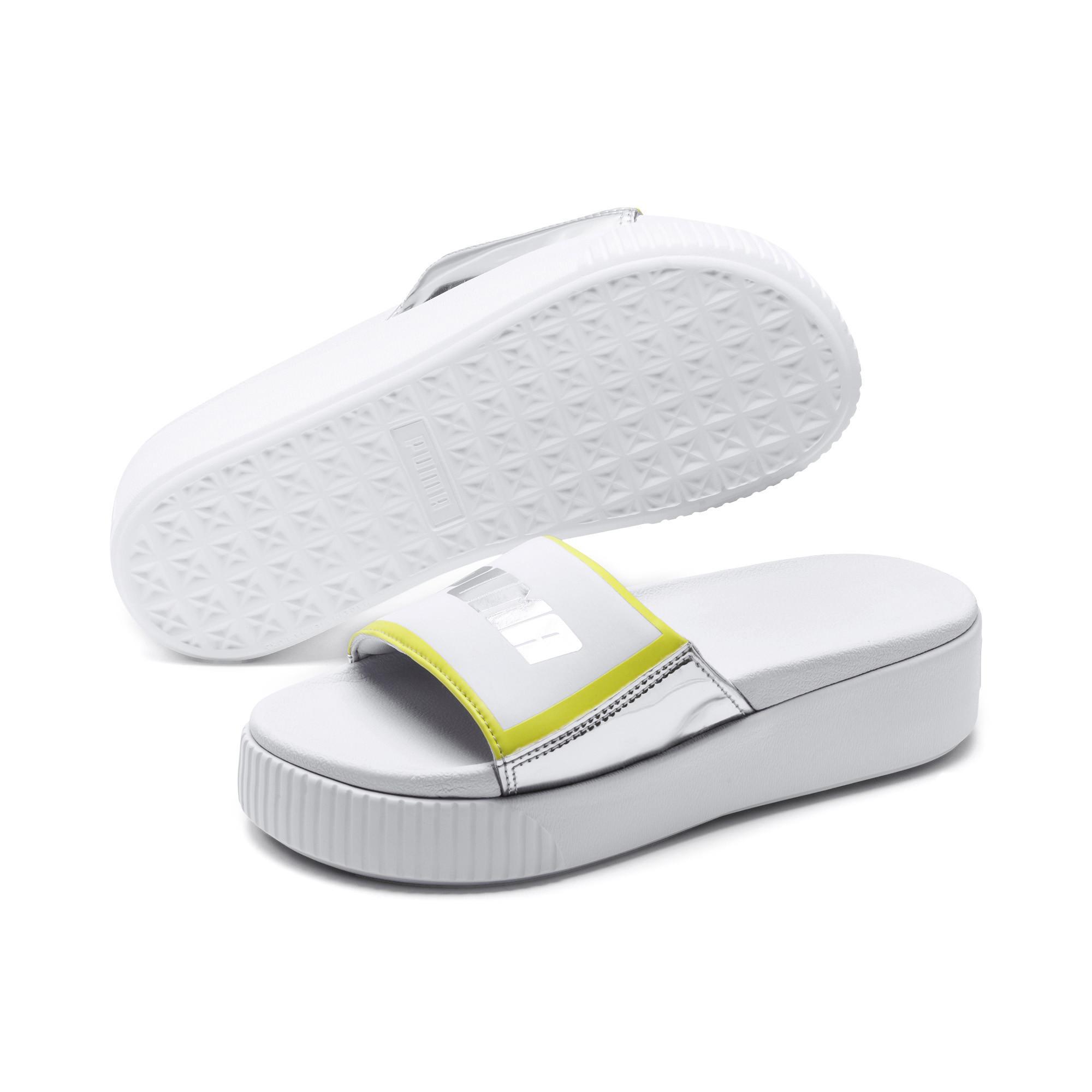 fb92b377b846 PUMA - Platform Trailblazer Metallic Women s Slide Sandals - Lyst. View  fullscreen