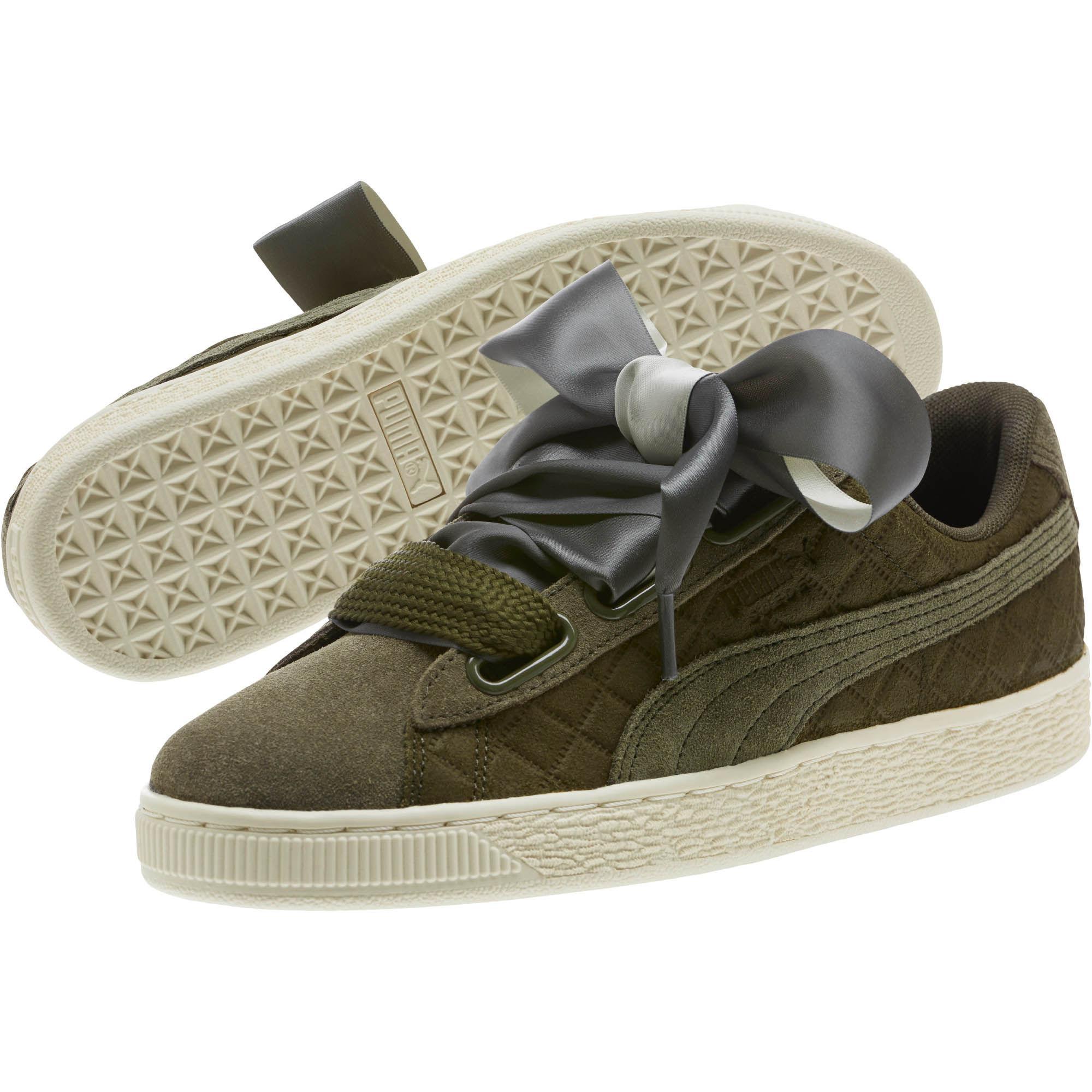 375380c698 PUMA Green Suede Heart Quilt Women's Sneakers