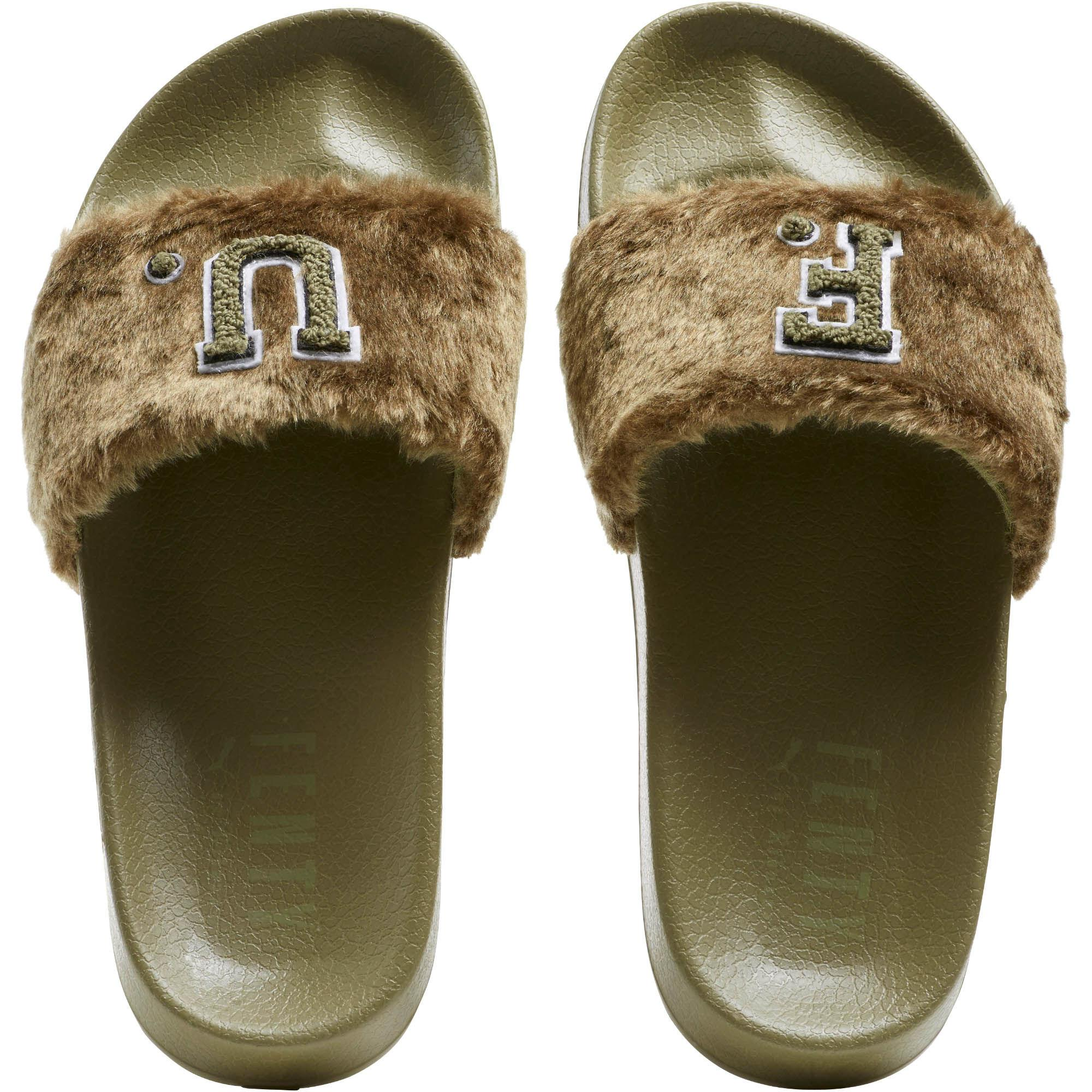 new style 646ac d77ec Green Fenty Unisex Fur Slide Sandals