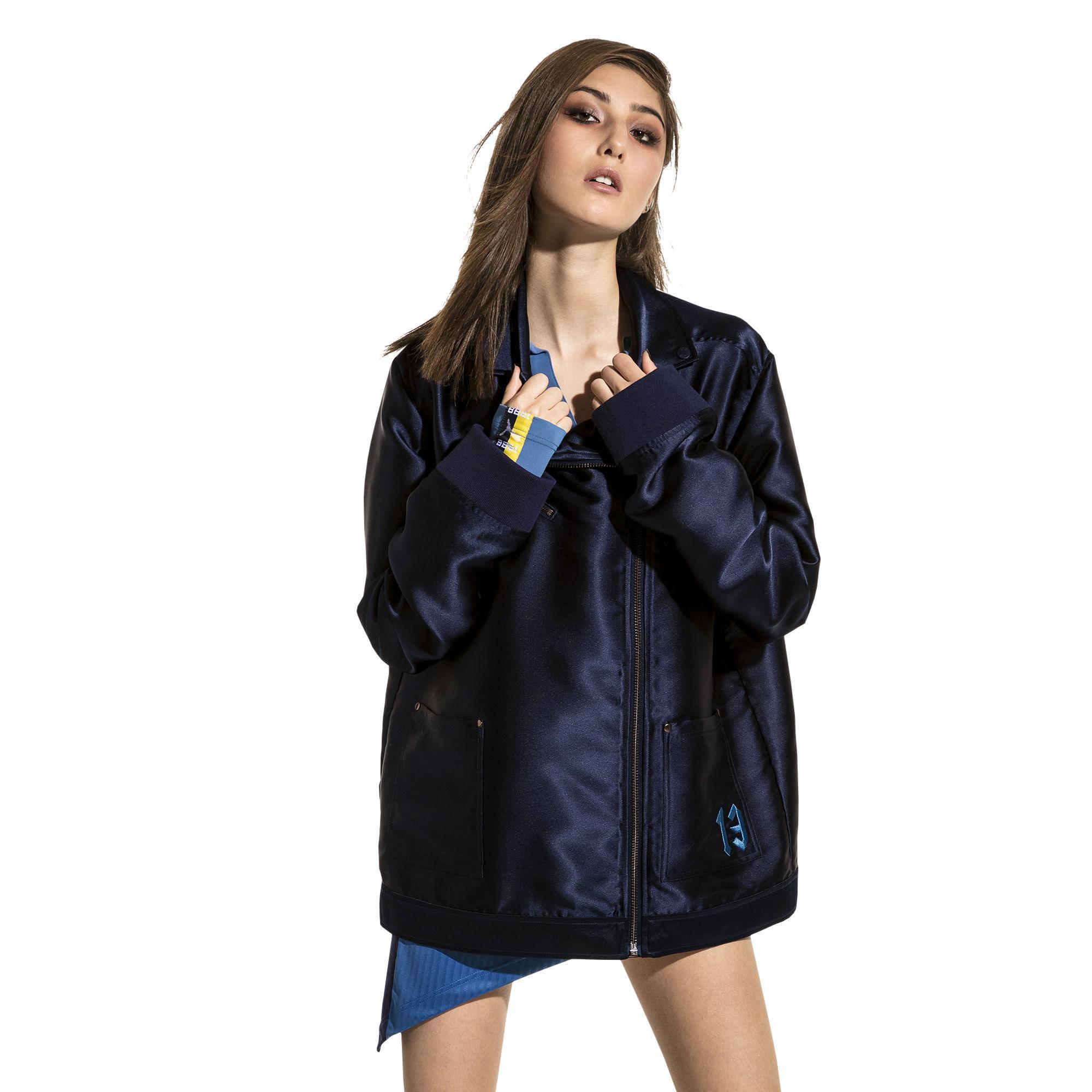 Blue Oversized Fenty Satin Puma Women's Biker Jacket vmwyNOP8n0