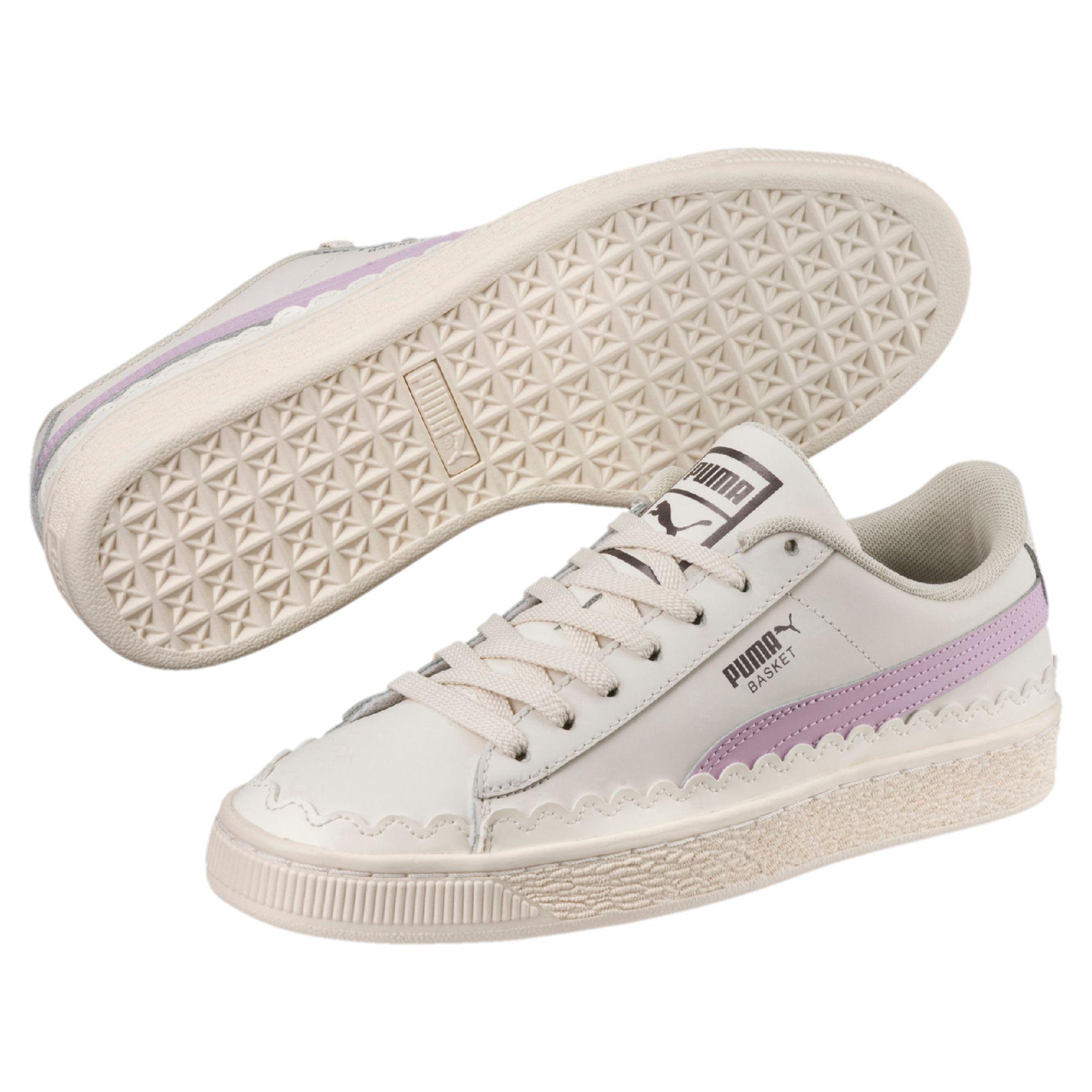 e0afb7b03a PUMA White Basket Scallop Women's Sneakers