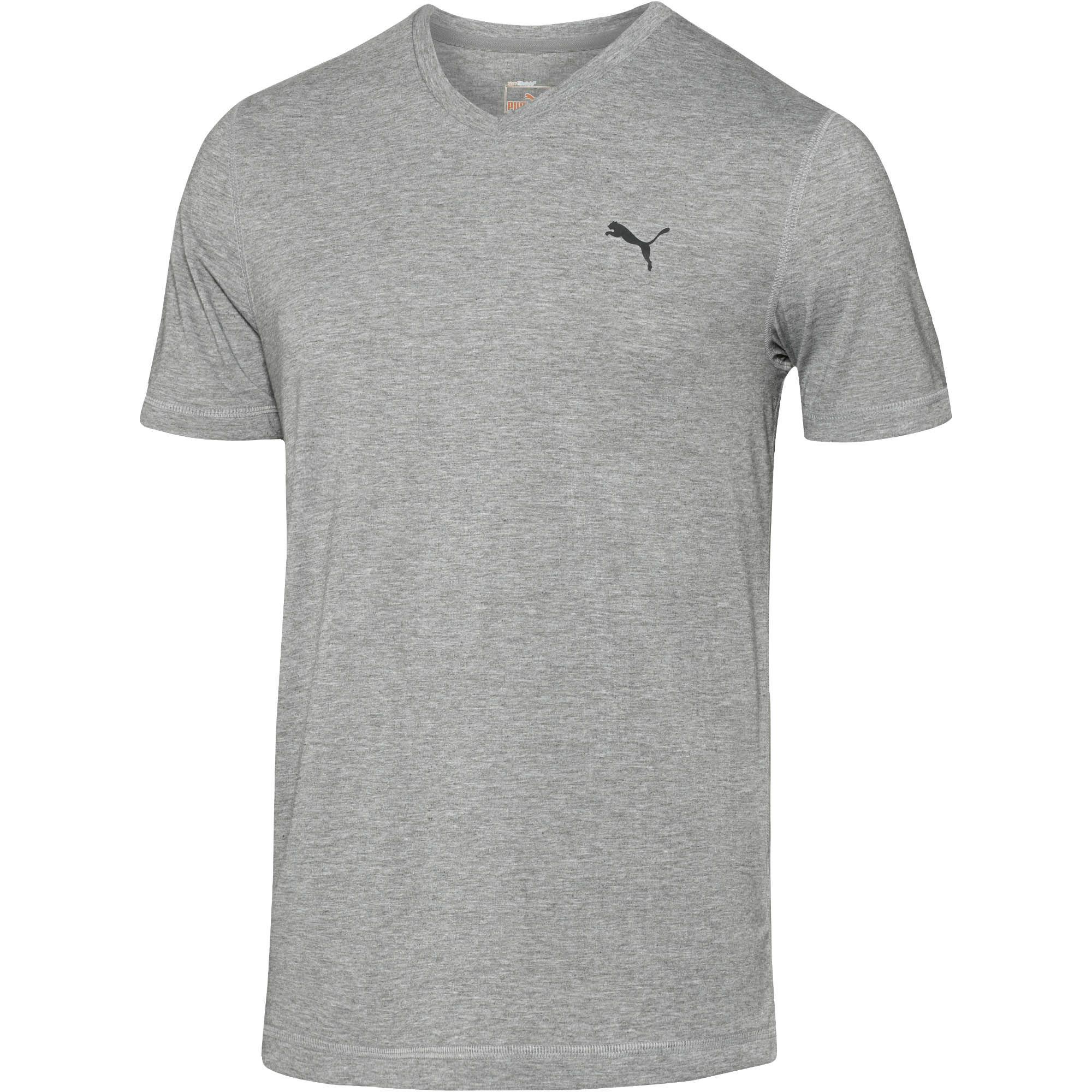 Puma Essential V Neck T Shirt In Gray For Men Medium Gray