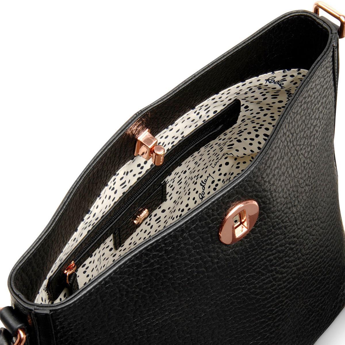 Radley Leather Carey Street Medium Bucket Cross Body Bag in Black