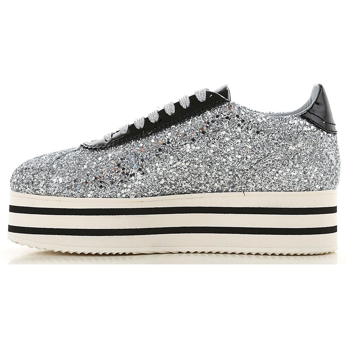 Chiara Ferragni Leather Silver Glittered Sneakers With Stars in Metallic - Save 28%