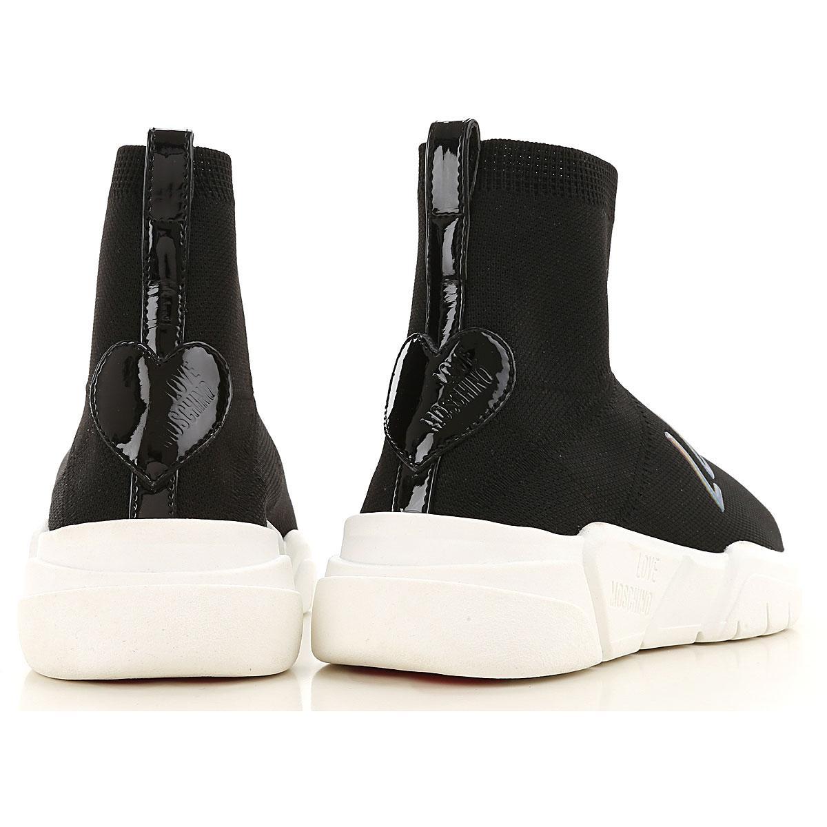 Zapatillas Deportivas de Mujer Moschino de Cuero de color Negro