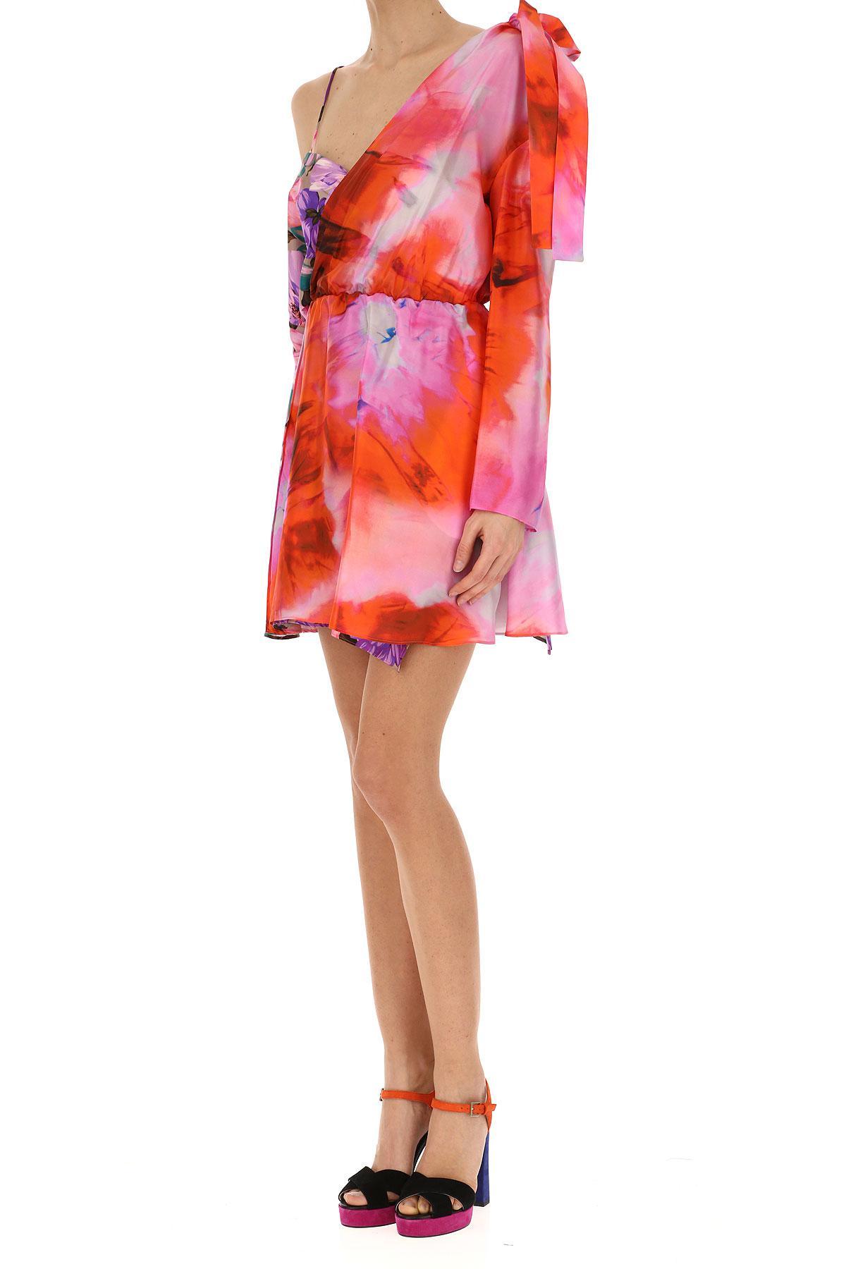 MSGM Seide Kleid für Damen Günstig im Sale in Rot - Sparen Sie 3% gR1a8