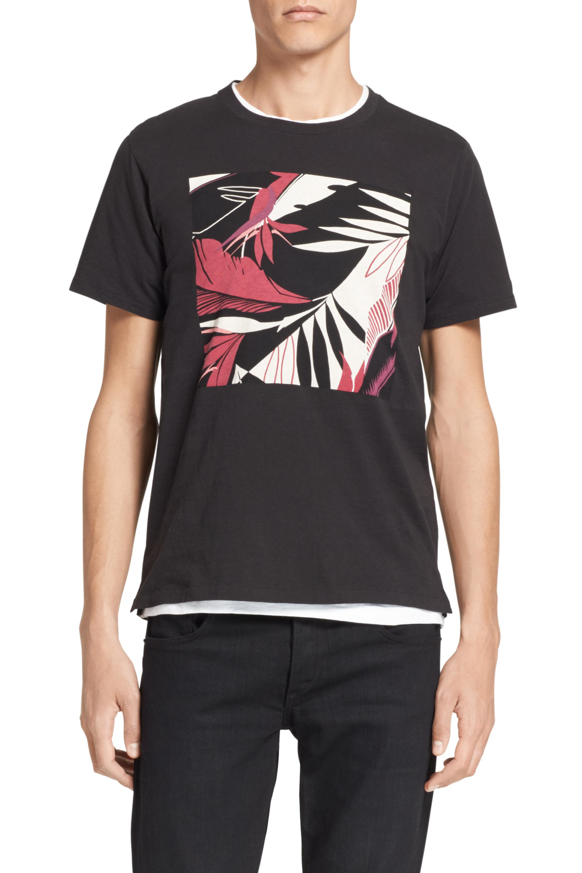 Lyst rag bone hawaiian graphic tee in black for men for Hawaiian graphic t shirts