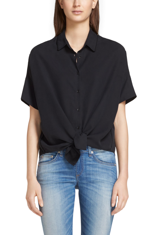 Rag bone tie shirt in black lyst for Rag bone shirt