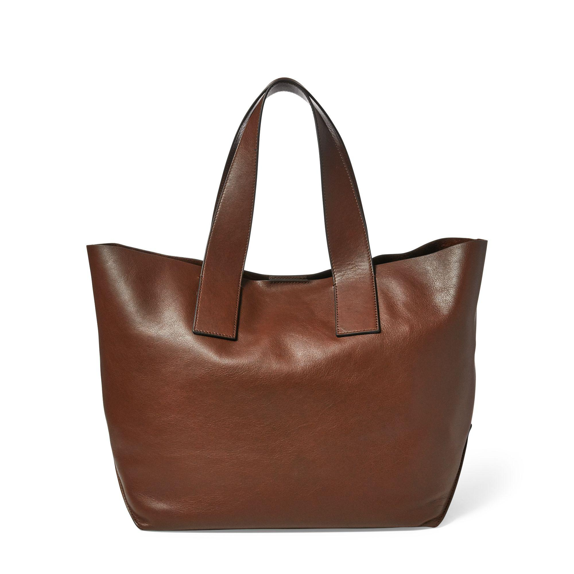Lyst - Polo Ralph Lauren Studded Leather Polo Tote Bag in Brown 9d345dcdd0965