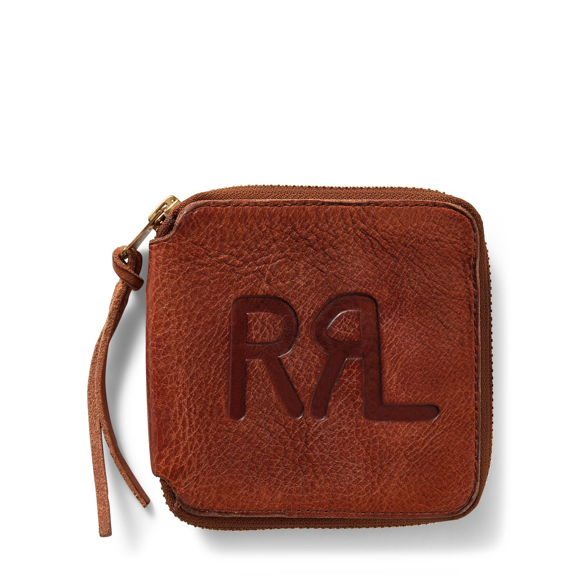 80dfc96d2e32 Lyst - RRL Tumbled Leather Zip Wallet in Brown for Men