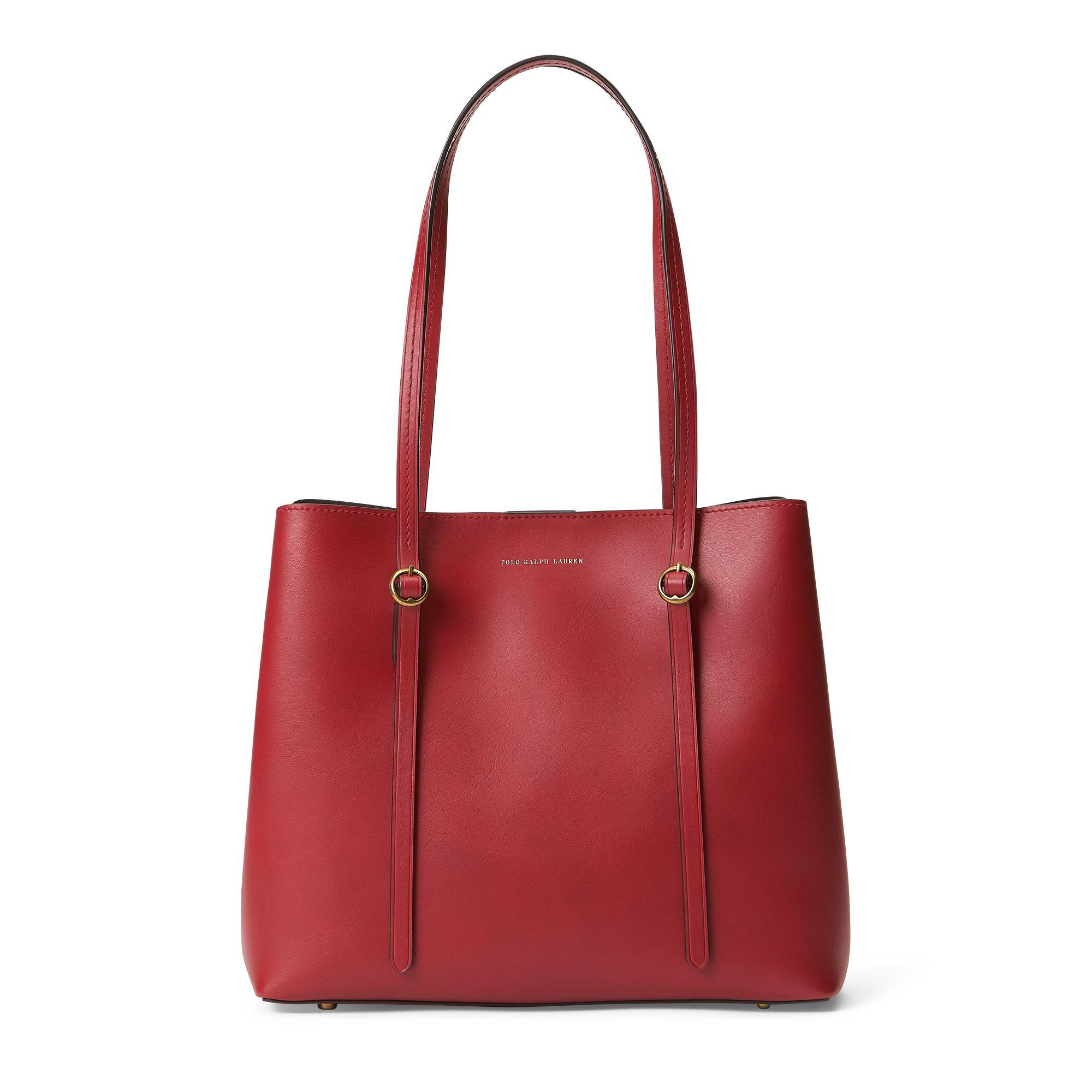 e7930d1cb18a Polo Ralph Lauren - Small Red Calfskin Leather Tote Bag With Magnet Closure  - Lyst. View fullscreen