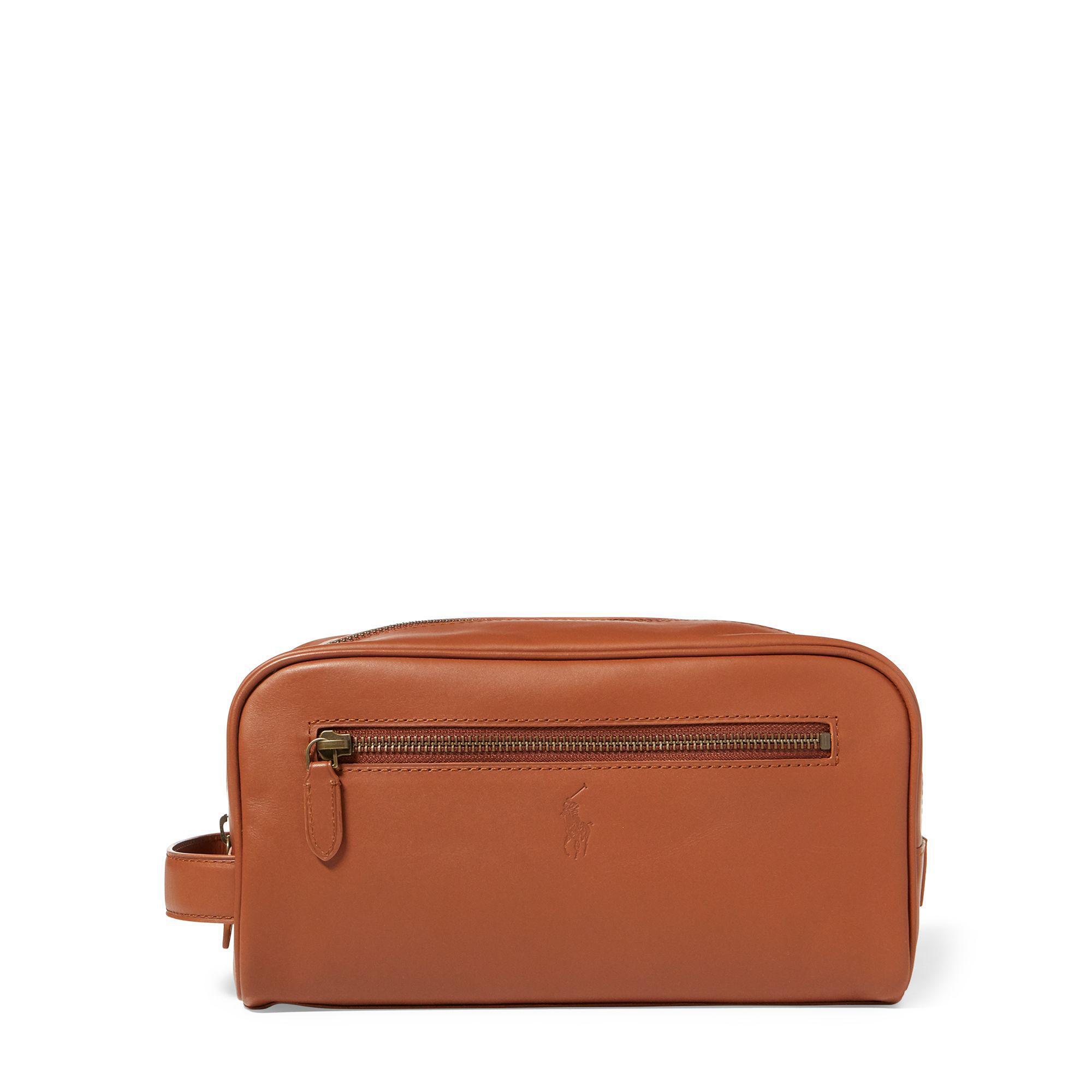 dc1f42084370 Polo Ralph Lauren Leather Shaving Kit in Brown for Men - Lyst