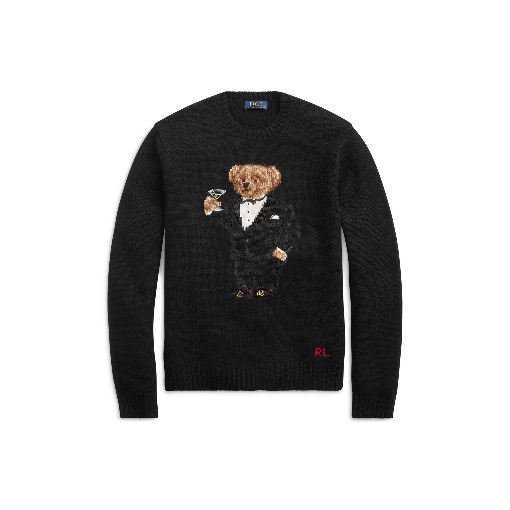 Authentic Ralph Lauren Gray Tuxedo Martini Bear Cotton Wool Gloves