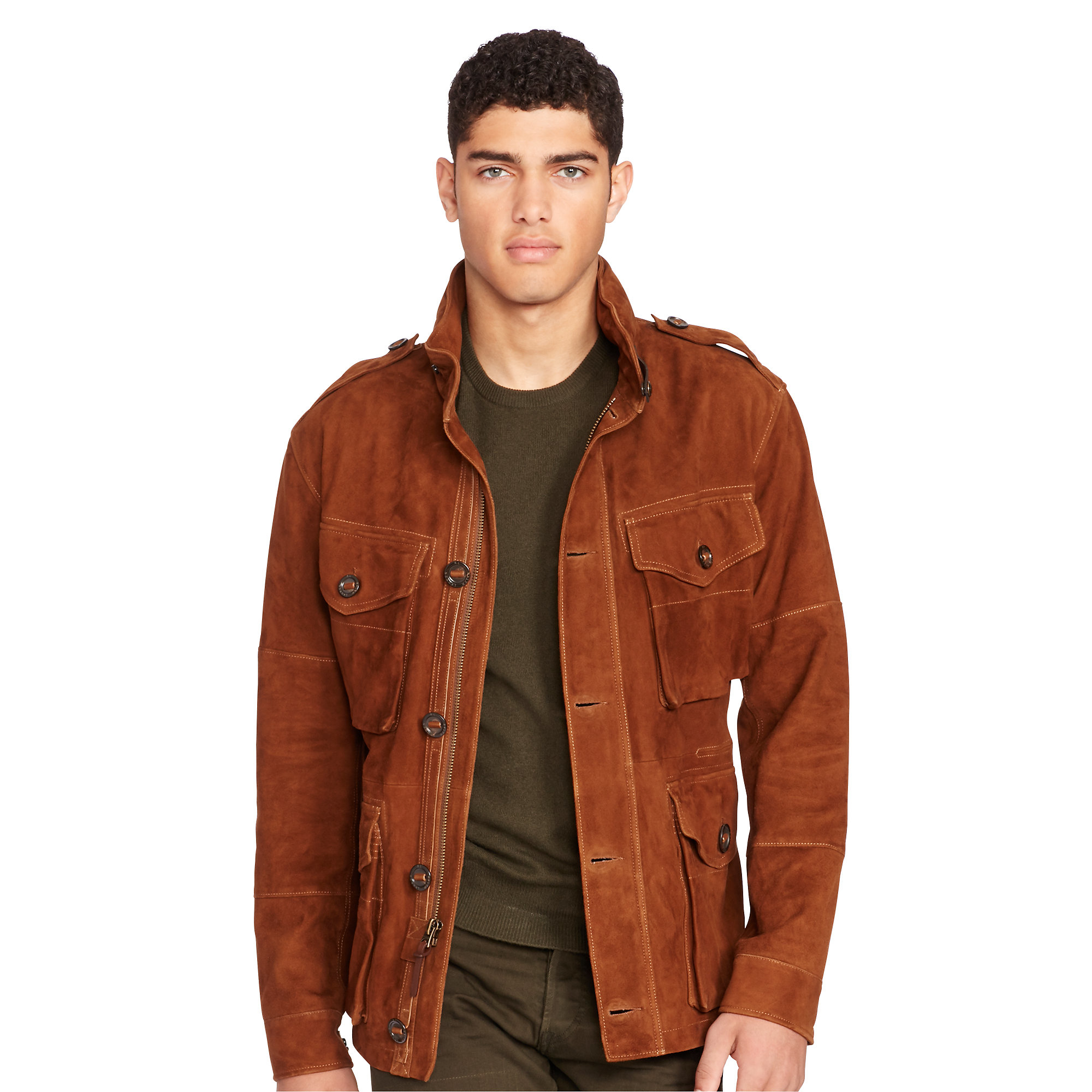 2120d457c release date lyst polo ralph lauren suede combat jacket in brown for men  a8245 d8a3a