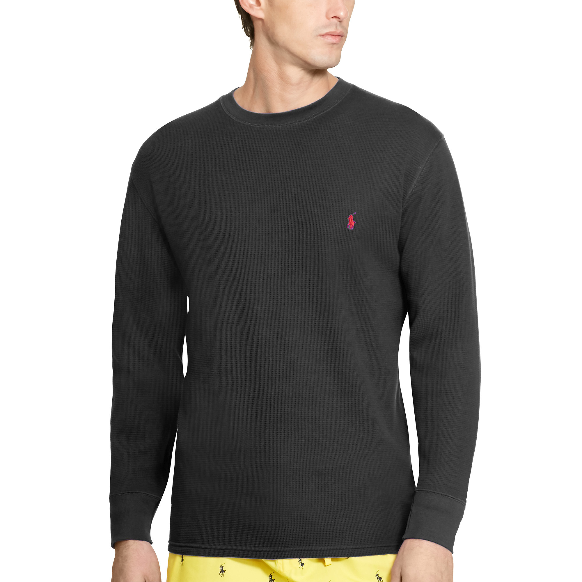 Pink Pony Cotton Long Sleeve Sleep Shirt In Black For Men: long cotton sleep shirts