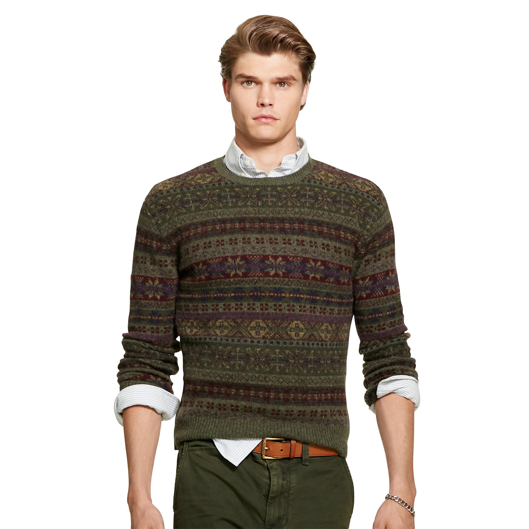 Polo ralph lauren Fair Isle Wool-blend Sweater in Green for Men | Lyst