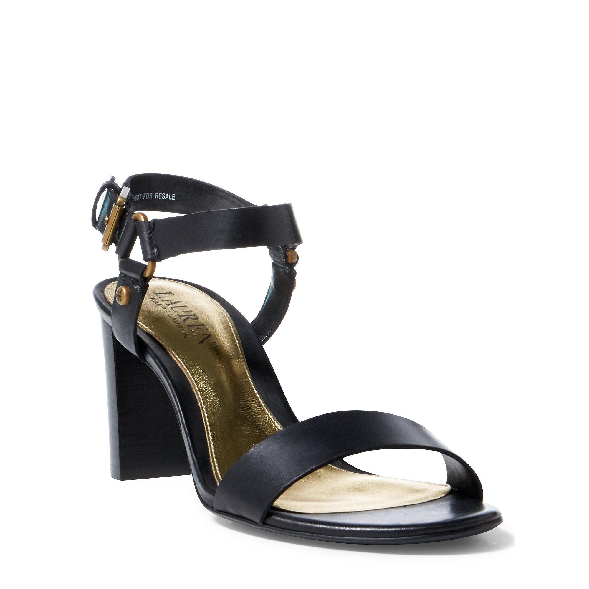 ec73b2e00f5 Ralph Lauren Black Harri Vachetta Leather Sandal