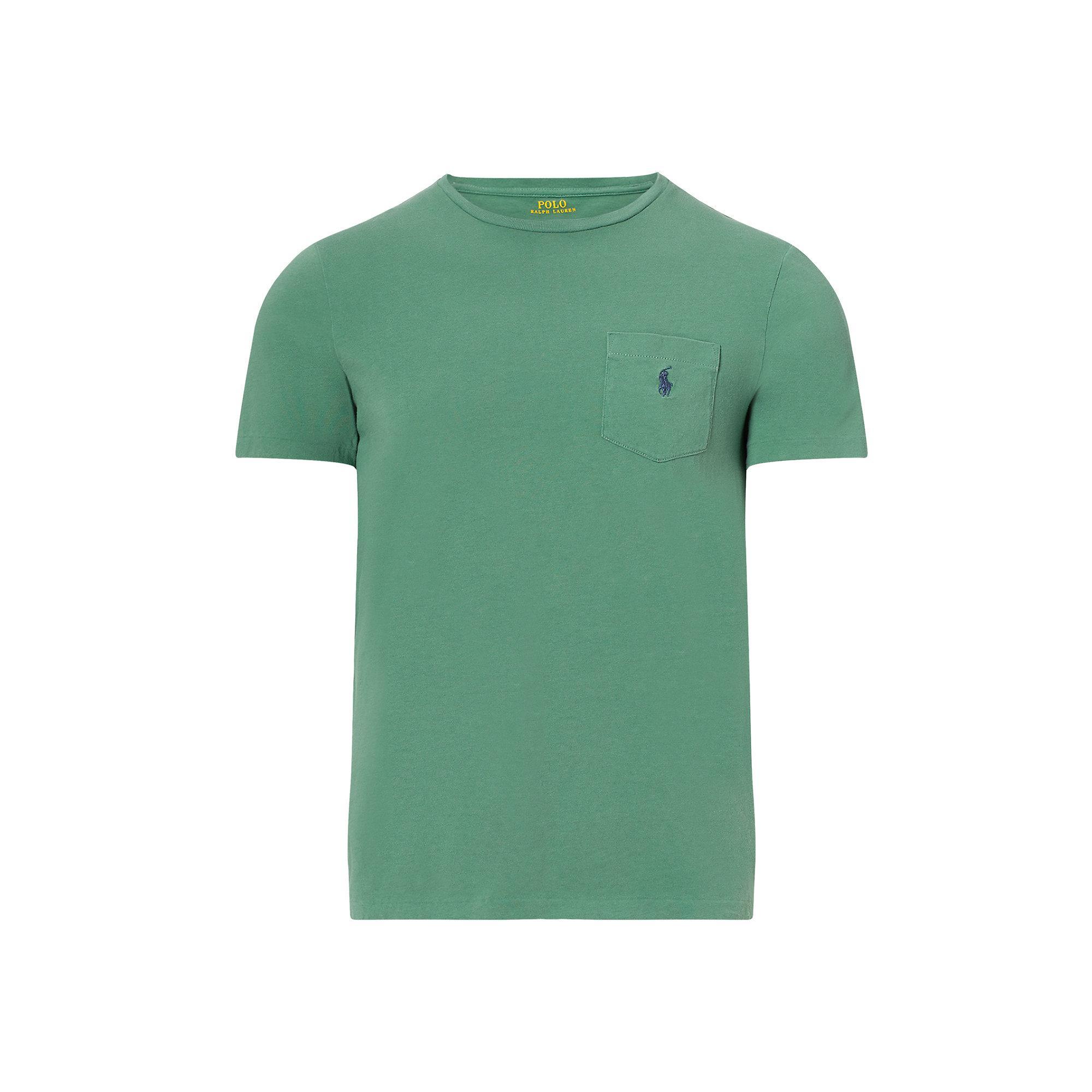 Polo ralph lauren custom fit cotton t shirt in green for for Polo custom fit t shirts