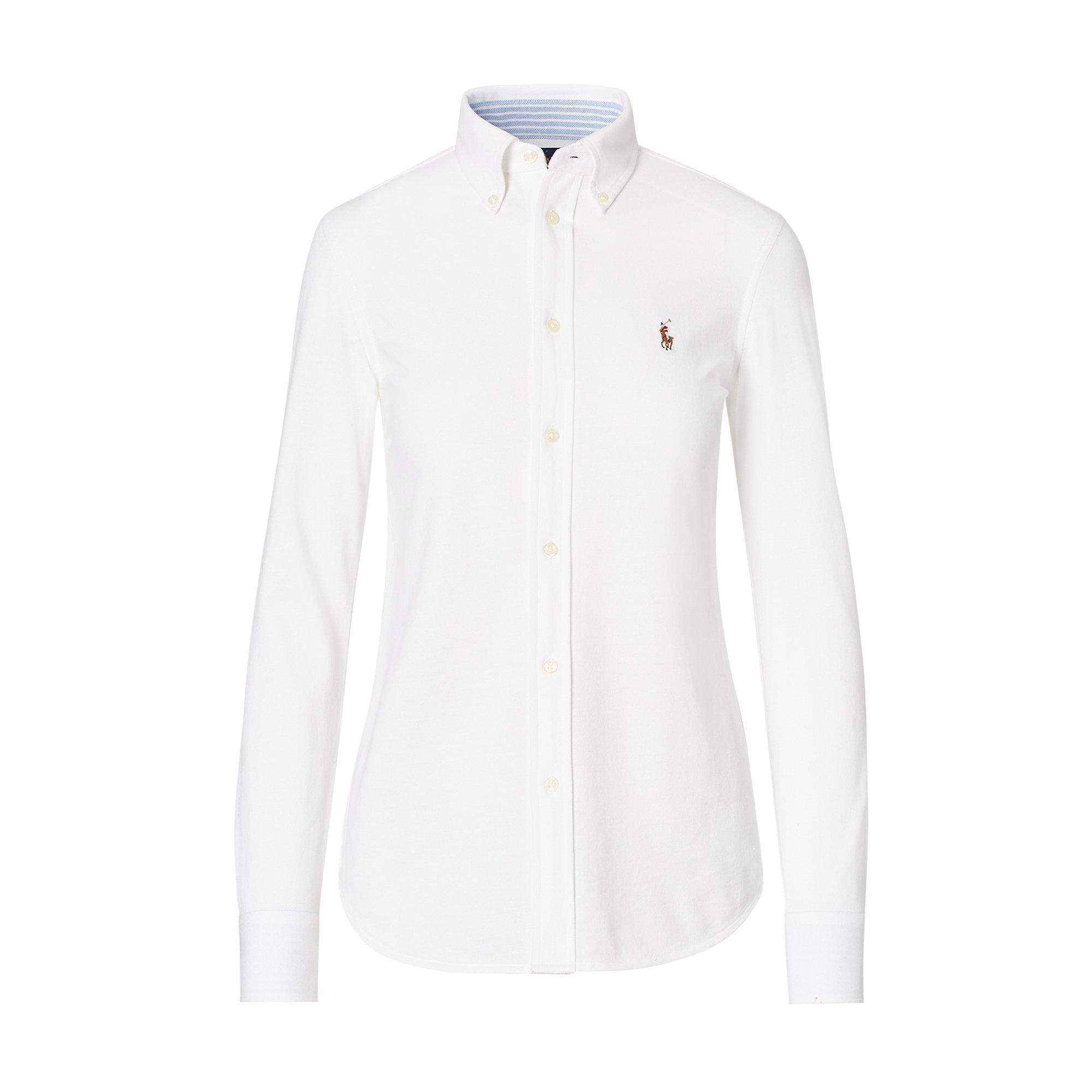 polo ralph lauren knit cotton oxford shirt in white lyst