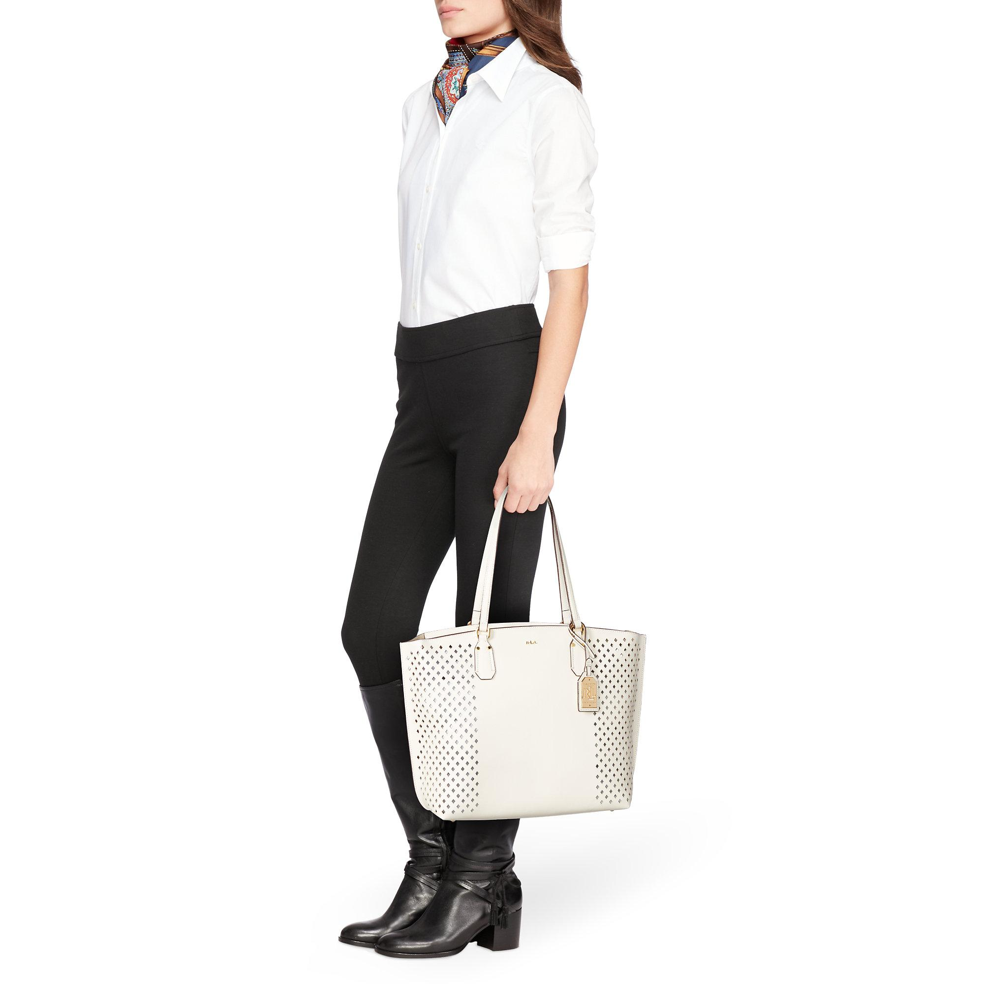 3c1a442168ef Lyst - Ralph Lauren Diamond-perforated Tanner Tote