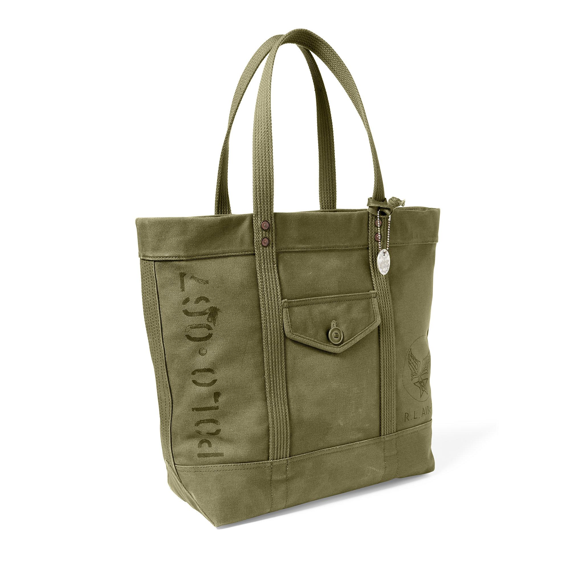 0fd5887609 Lyst - Polo Ralph Lauren Military Canvas Tote in Green