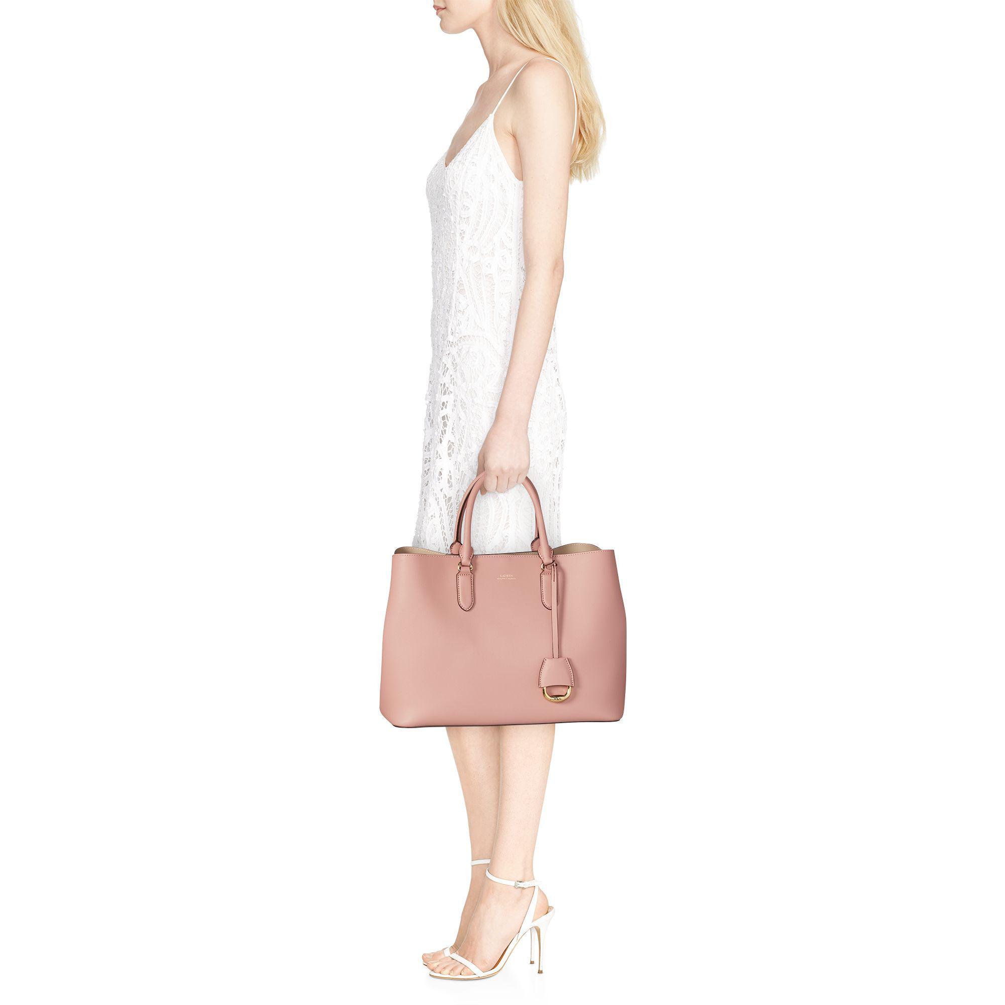 5389be3085 Ralph Lauren Leather Marcy Satchel in Pink - Lyst