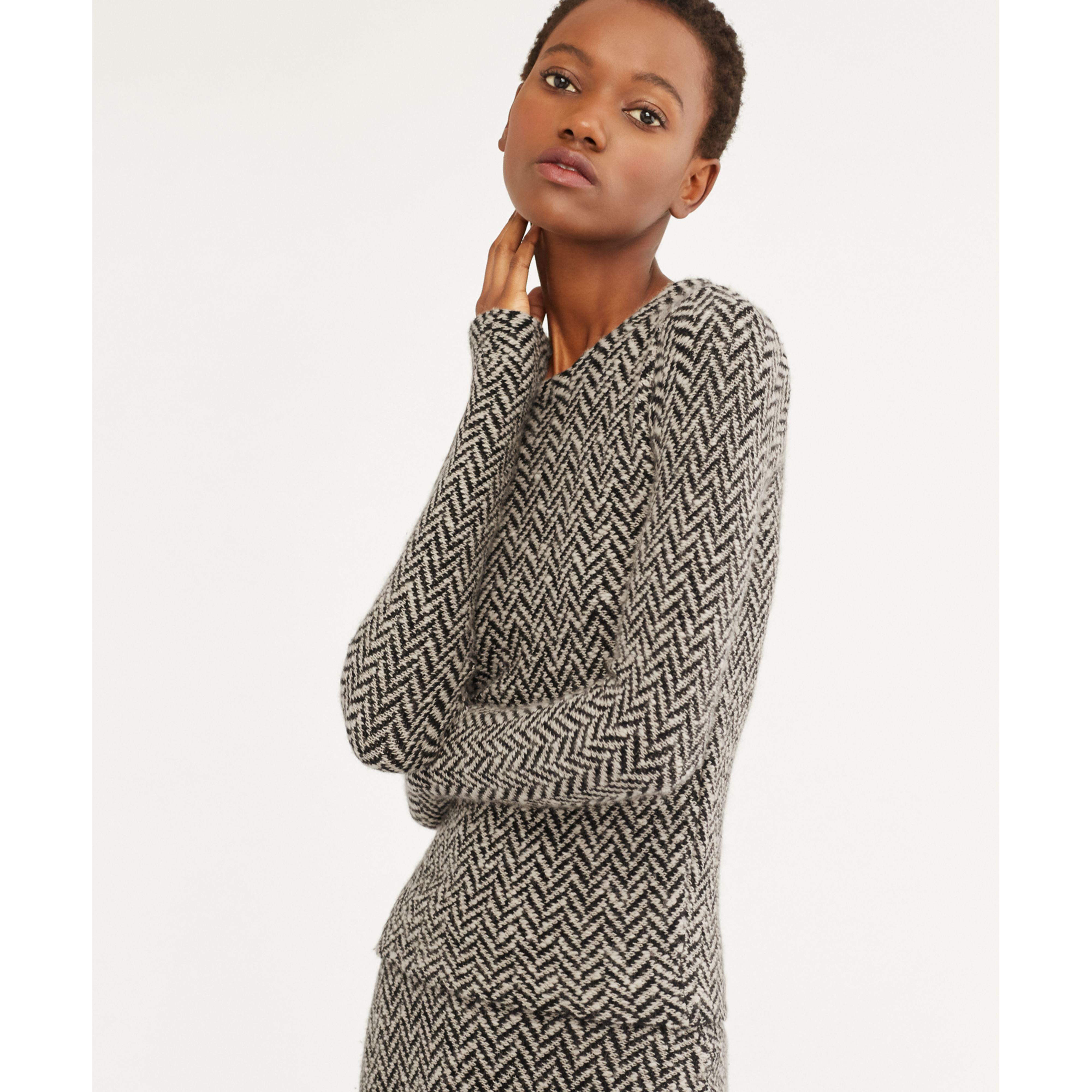 Hooded Herringbone Cardigan Sweater | Tulips Clothing