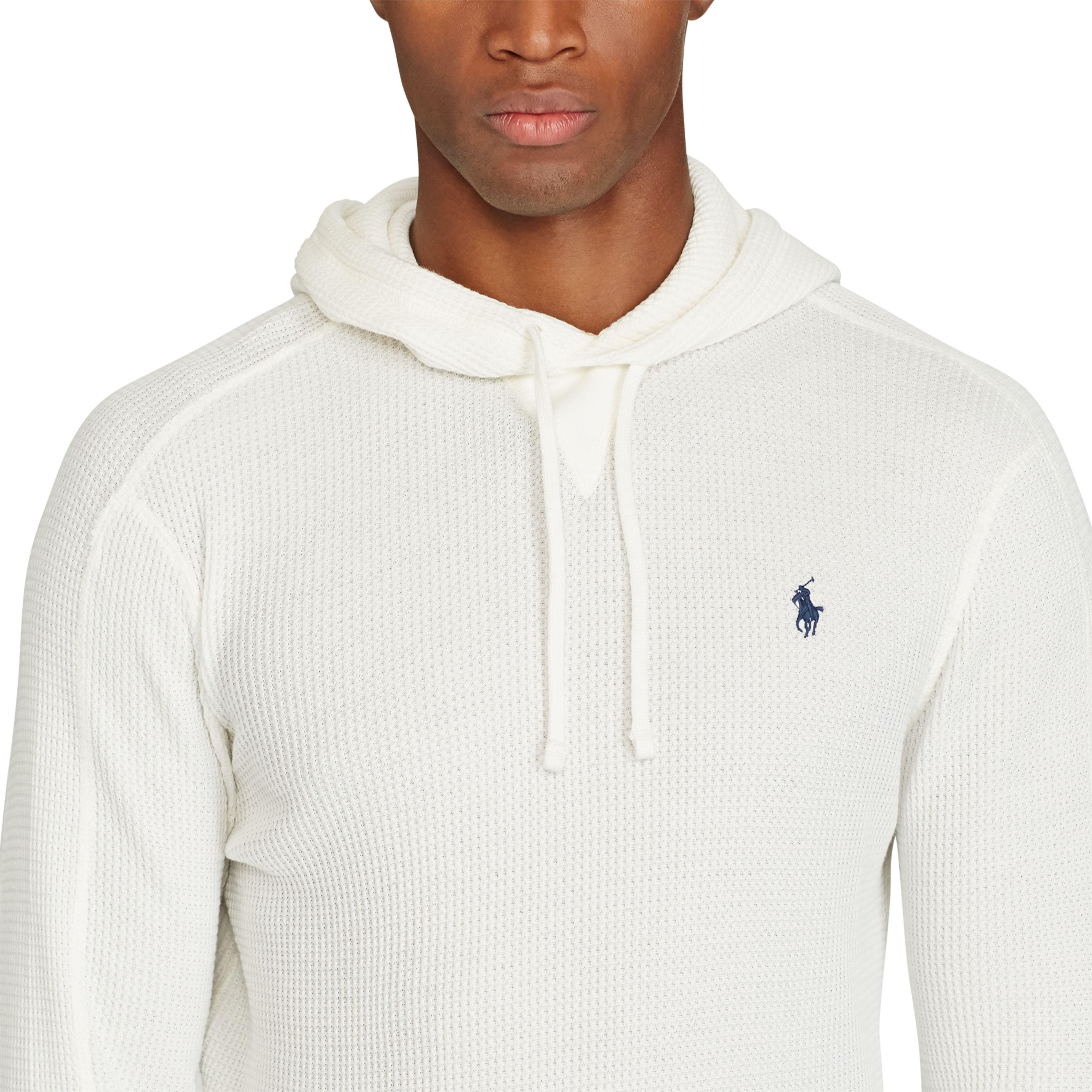 ac881df6 Polo Ralph Lauren White Waffle-knit Cotton Hoodie for men