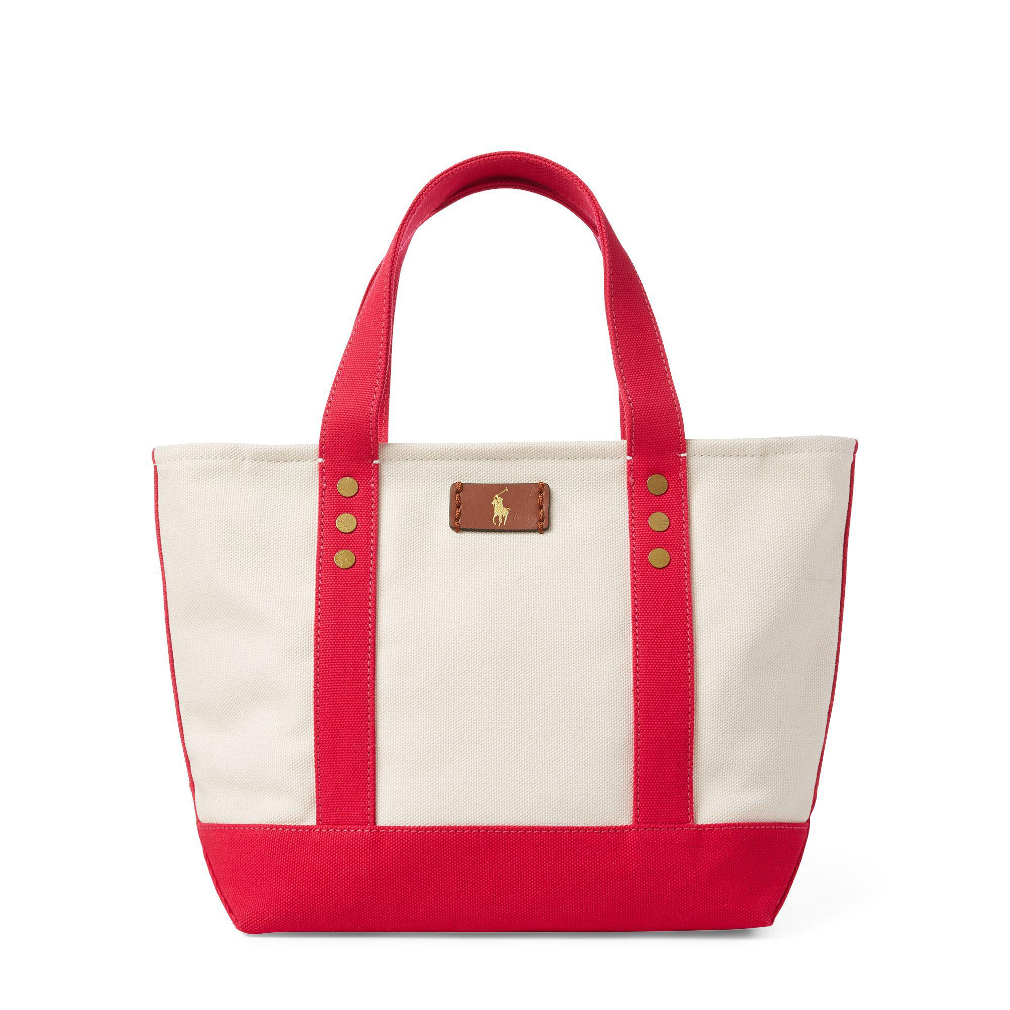 e1af86b549 Lyst - Polo Ralph Lauren Canvas Mini Tote Bag in Red