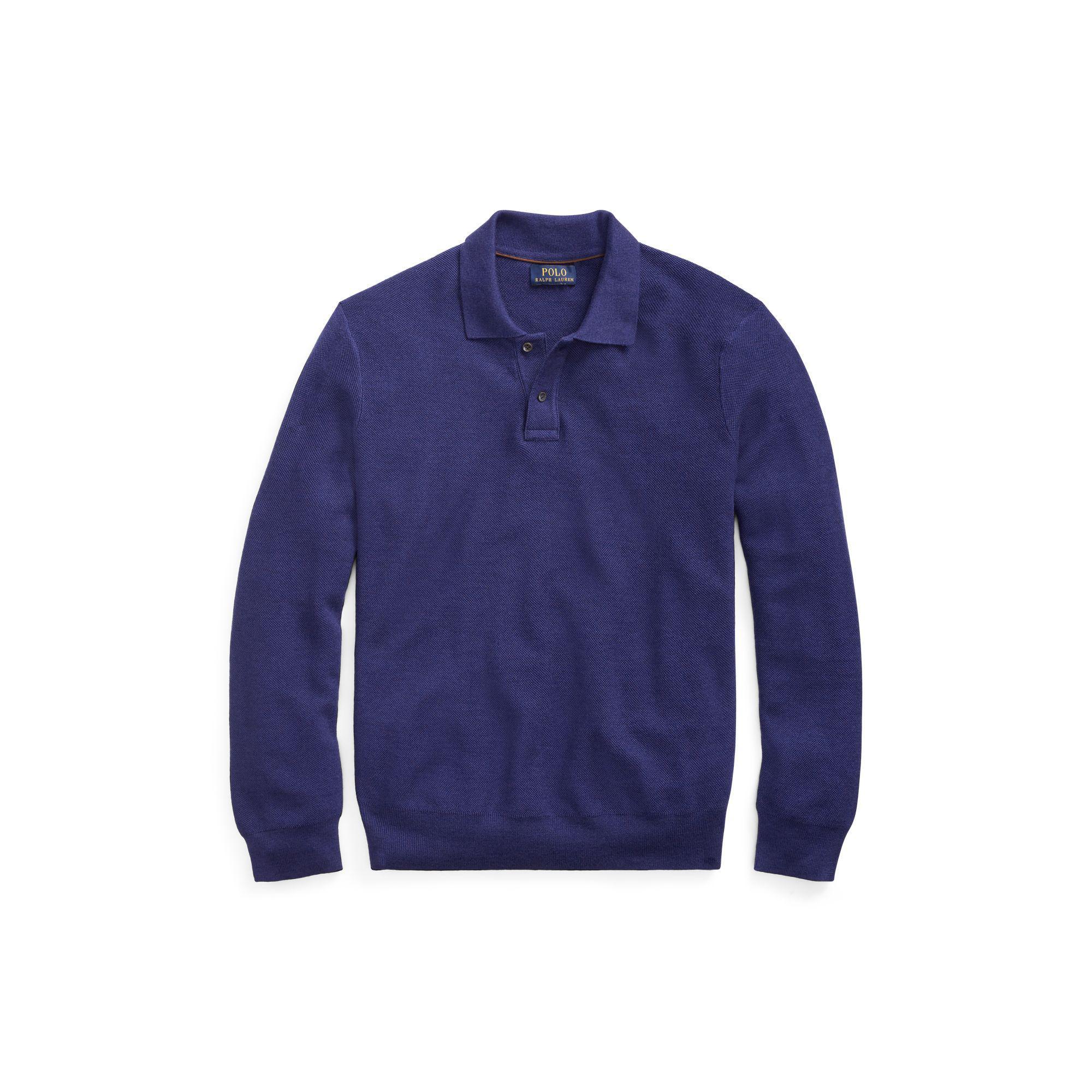 Polo Ralph Lauren - Blue Merino-silk-cashmere Sweater for Men - Lyst. View  fullscreen