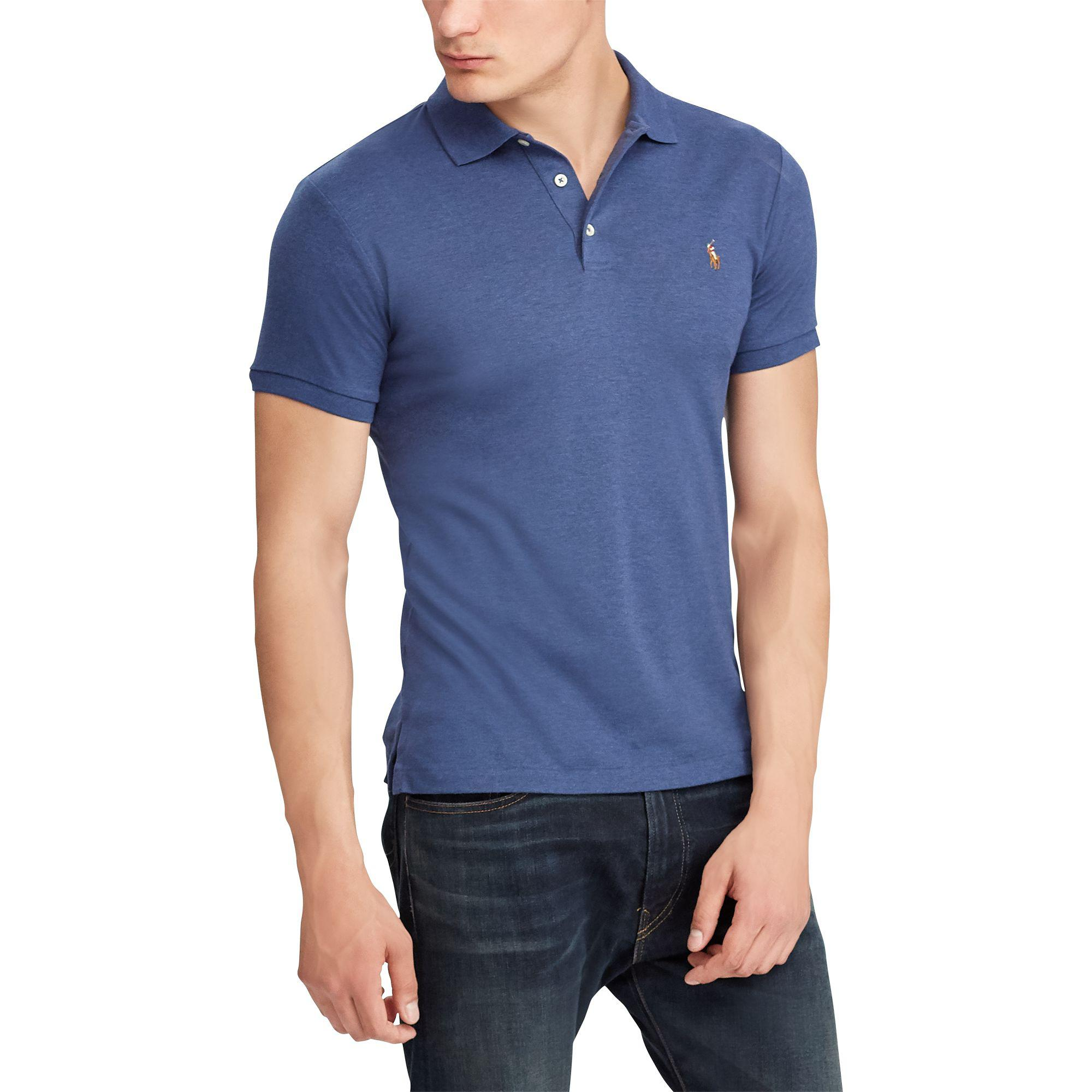 46c2310731 Polo Ralph Lauren Slim Fit Soft-touch Polo Shirt in Blue for Men - Lyst