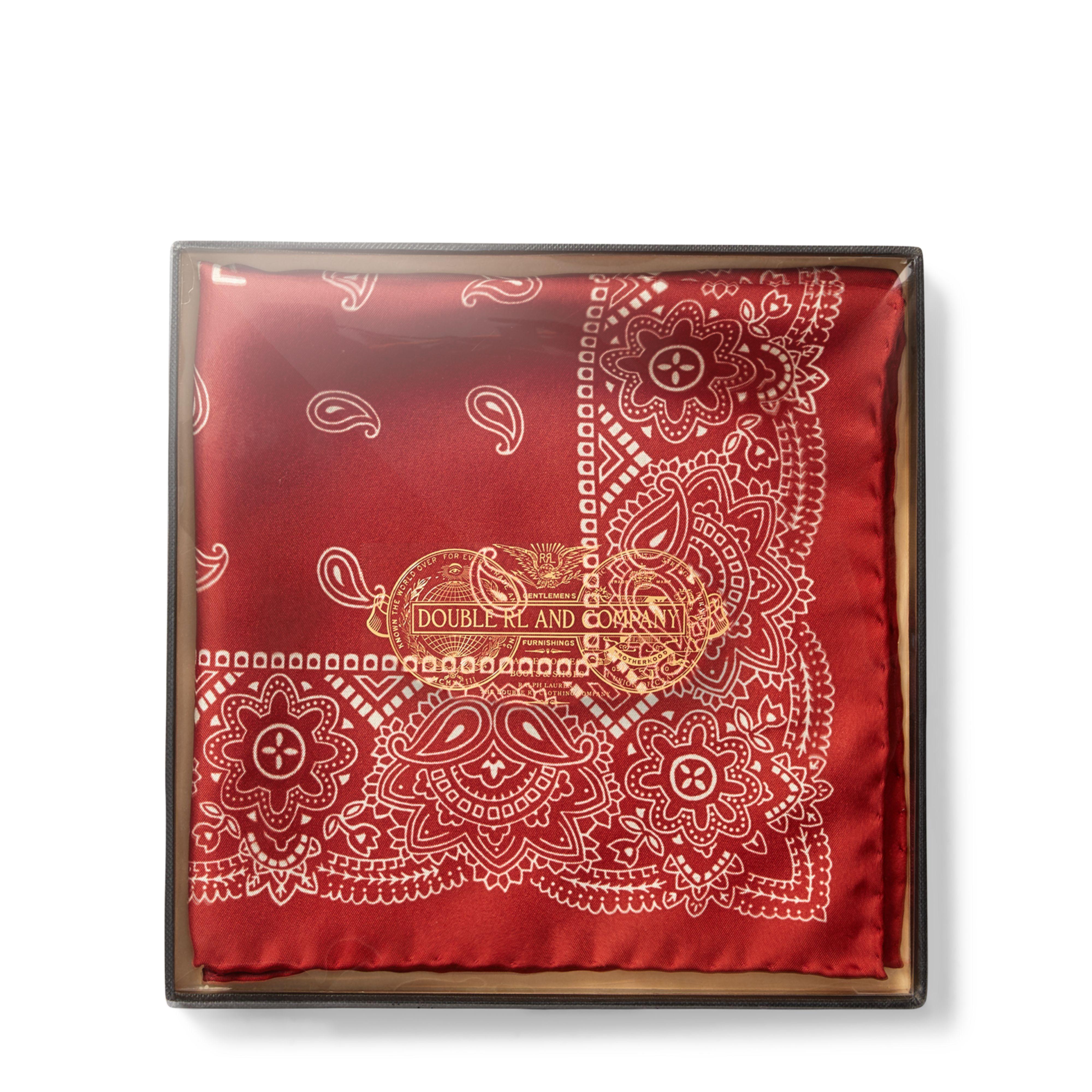 "Ralph Lauren RRL Brown Silk Pocket Square Bandana 15/"" x 15/"" New"