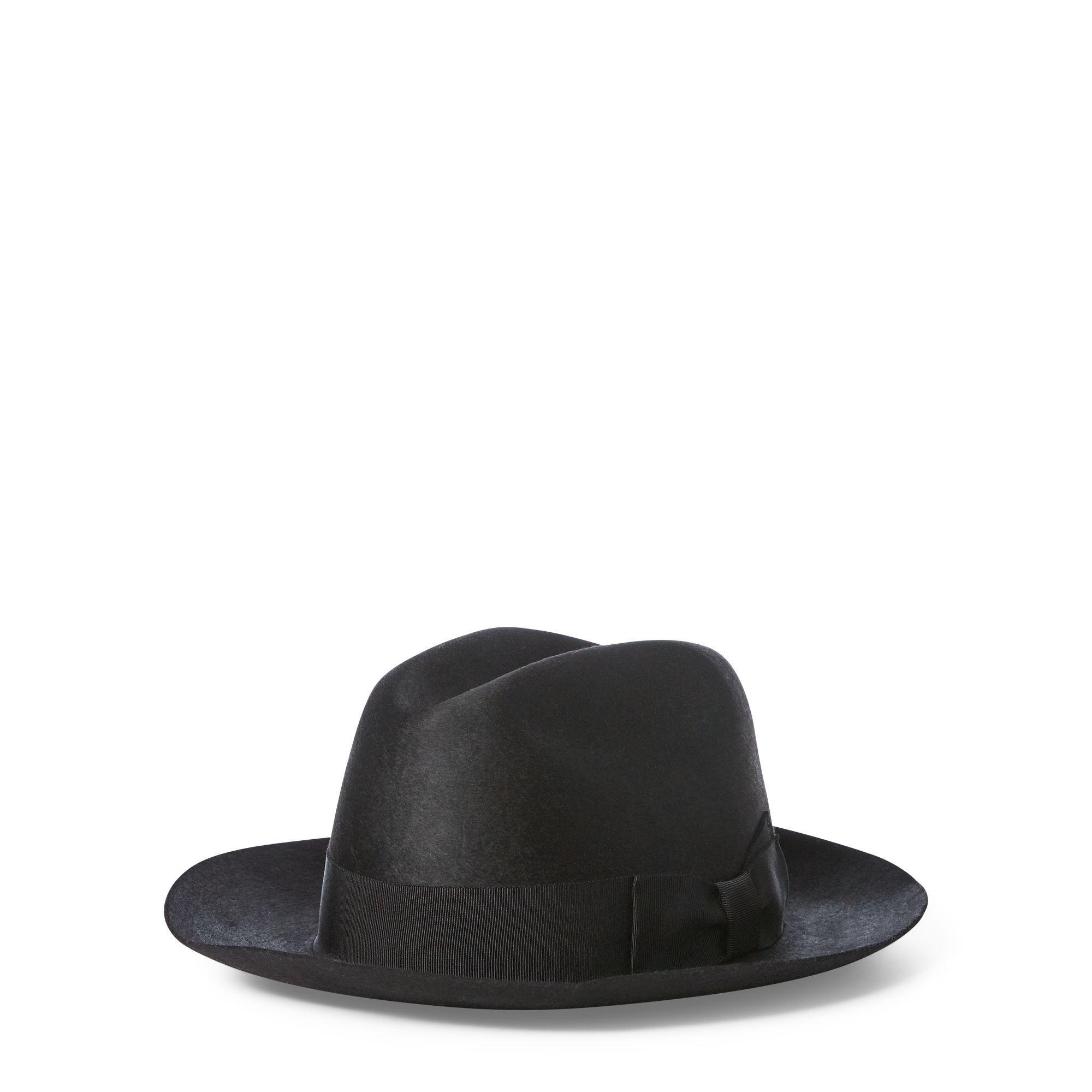 54e2b8c223e Lyst - Polo Ralph Lauren Wool Felt Fedora in Black - Save 39%