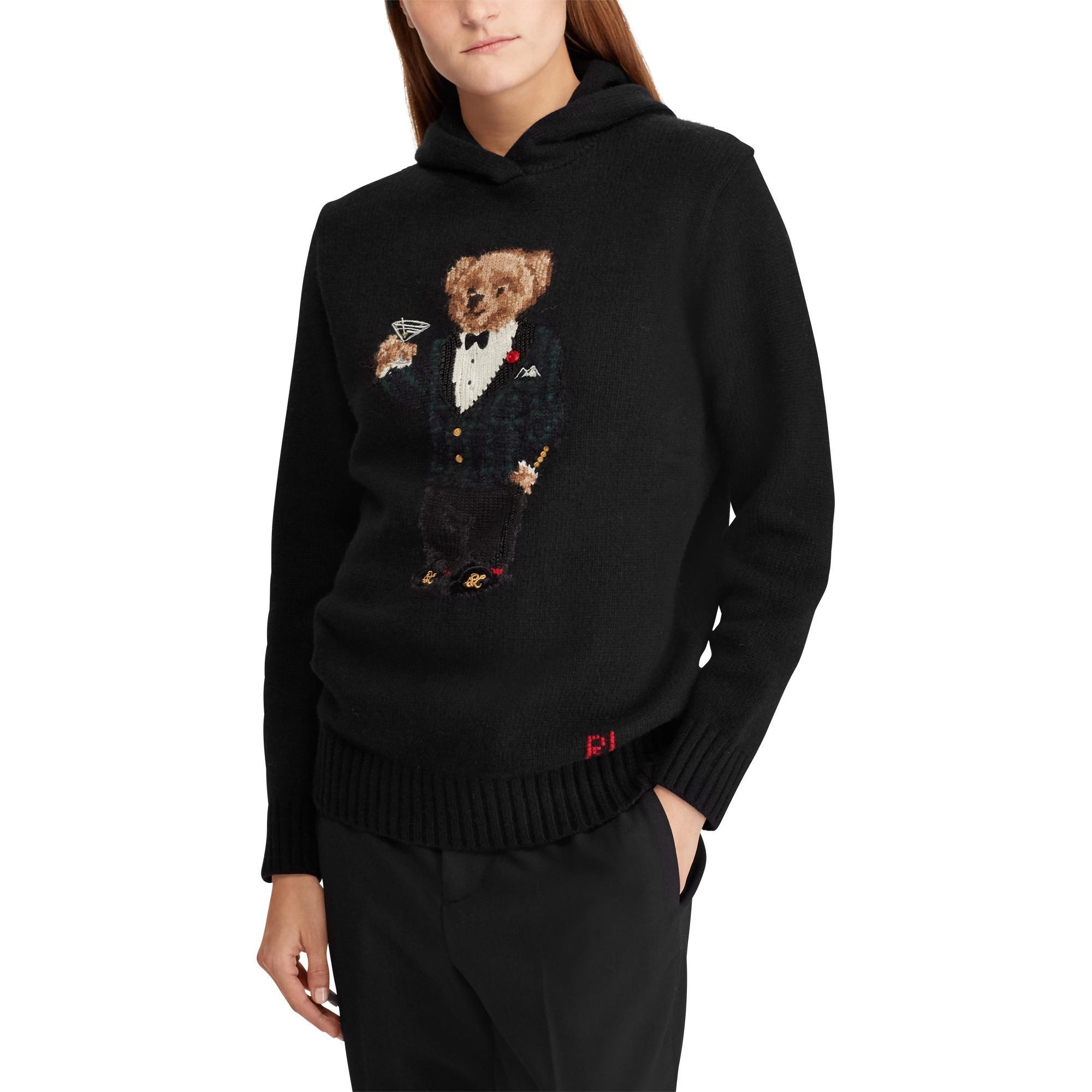 61a898c0 Polo Ralph Lauren Polo Bear Wool-blend Hoodie in Black - Lyst