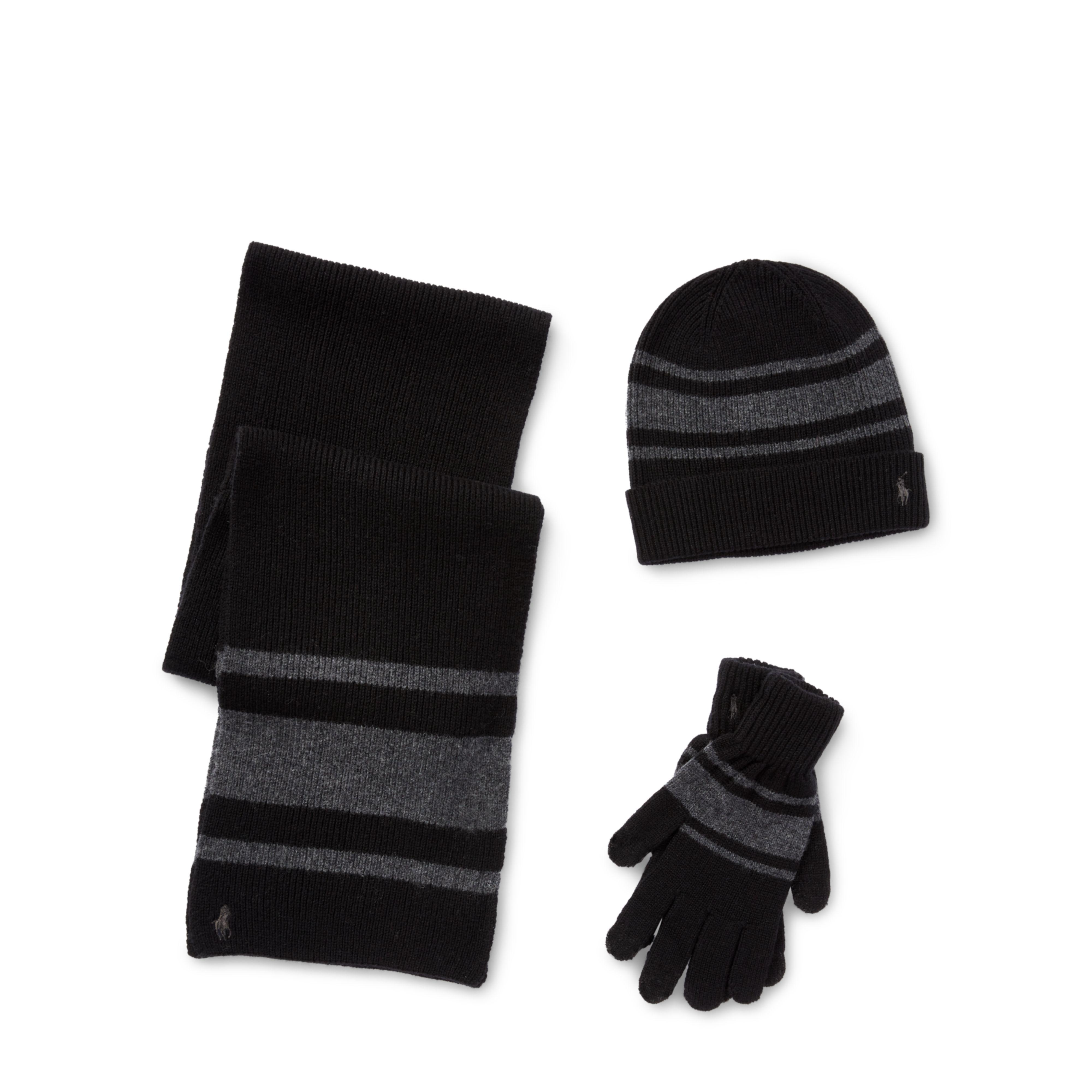 bef00a97fdf cheapest womens scarves wool or leather fendi f2b48 09dc4  get lyst polo  ralph lauren striped hat scarf glove set in black for men 8d175 8d0ee